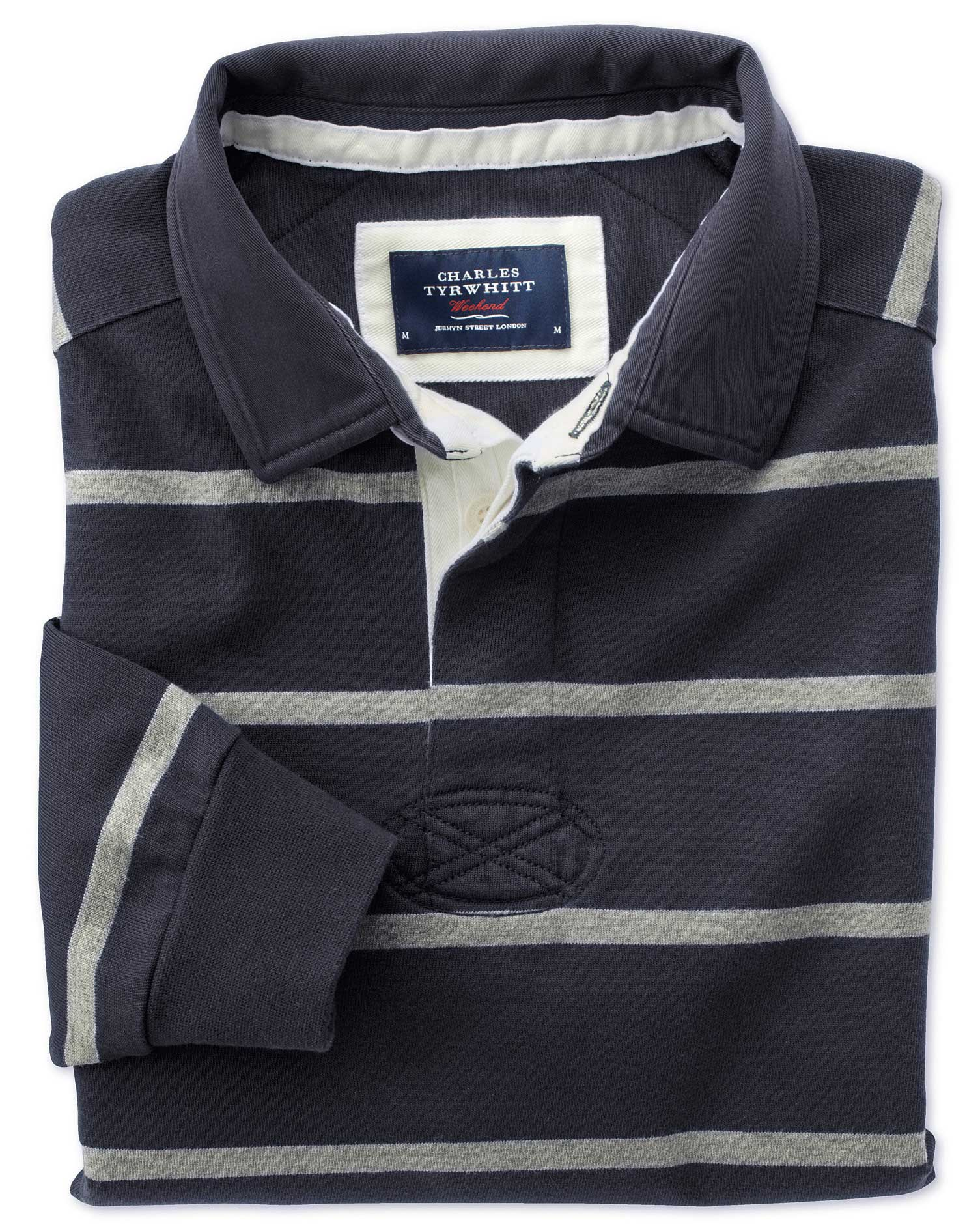 Navy and Grey Stripe Rugby Cotton Shirt Size XS by Charles Tyrwhitt