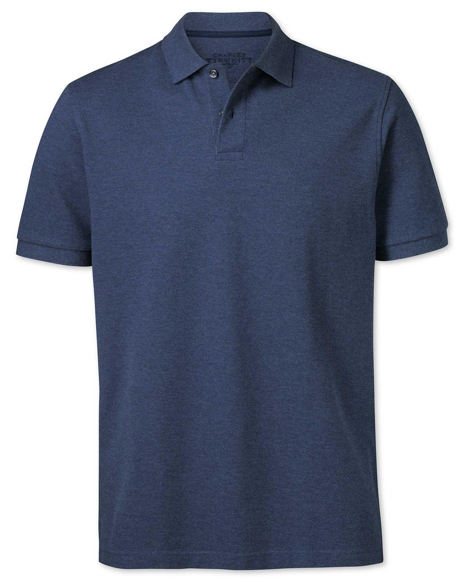 Indigo Melange Pique Cotton Polo Size XL by Charles Tyrwhitt