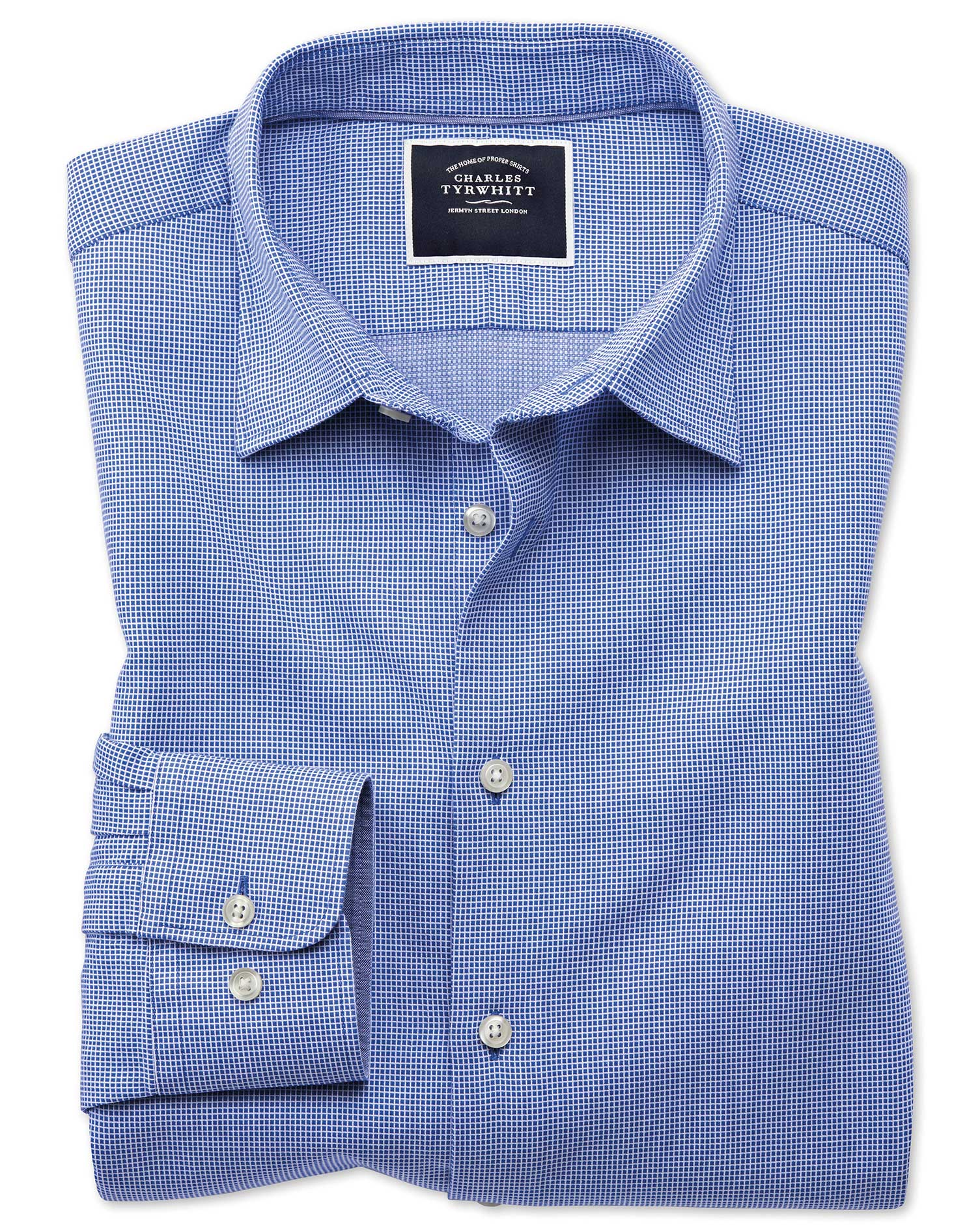 Classic Fit Royal Blue Micro Check Soft Texture Cotton Shirt Single Cuff Size Medium by Charles Tyrw