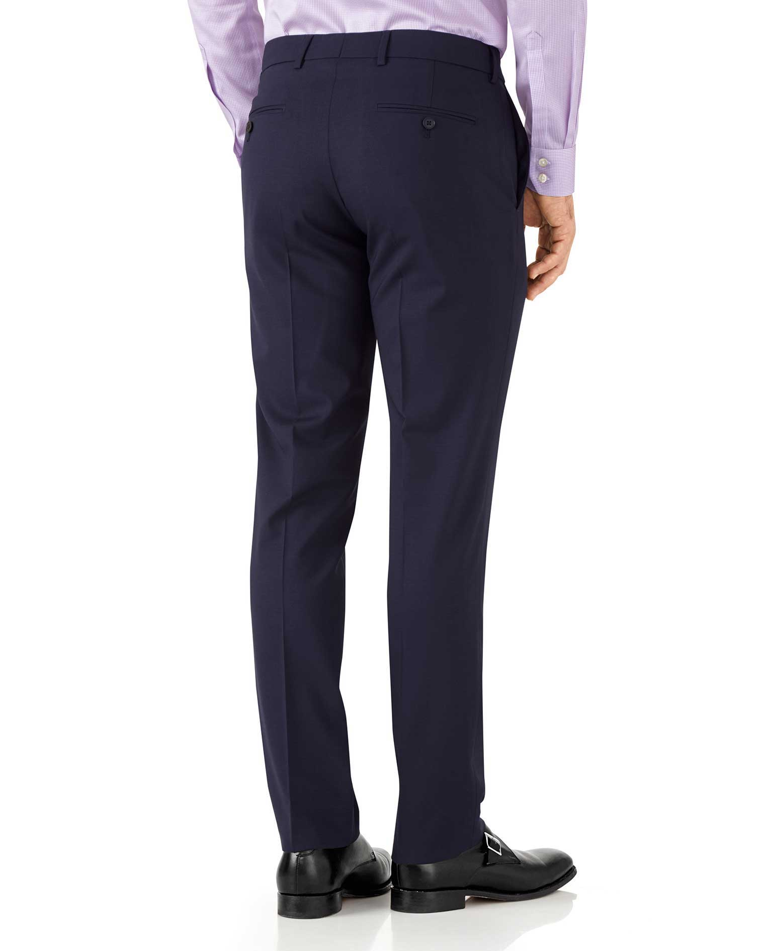 Navy slim fit performance suit pants