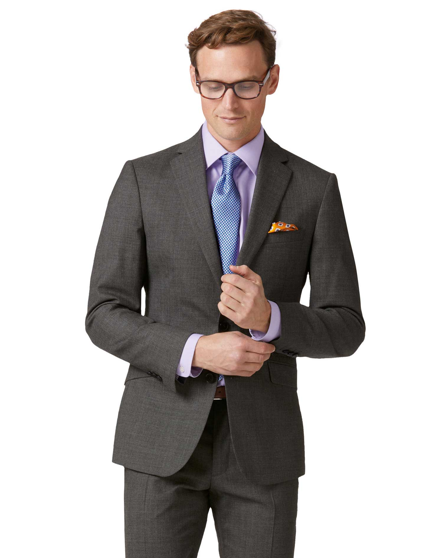 Grey Extra Slim Fit Merino Business Suit Wool Jacket Size 40 Short by Charles Tyrwhitt