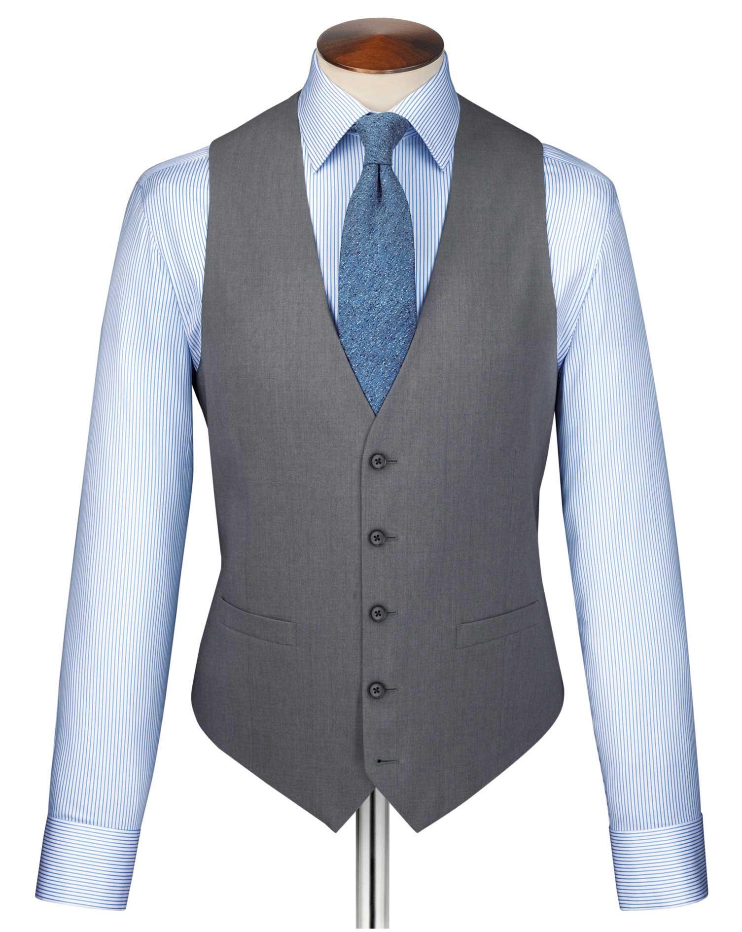 Silver Twill Business Suit Wool Waistcoat Size w36 by Charles Tyrwhitt