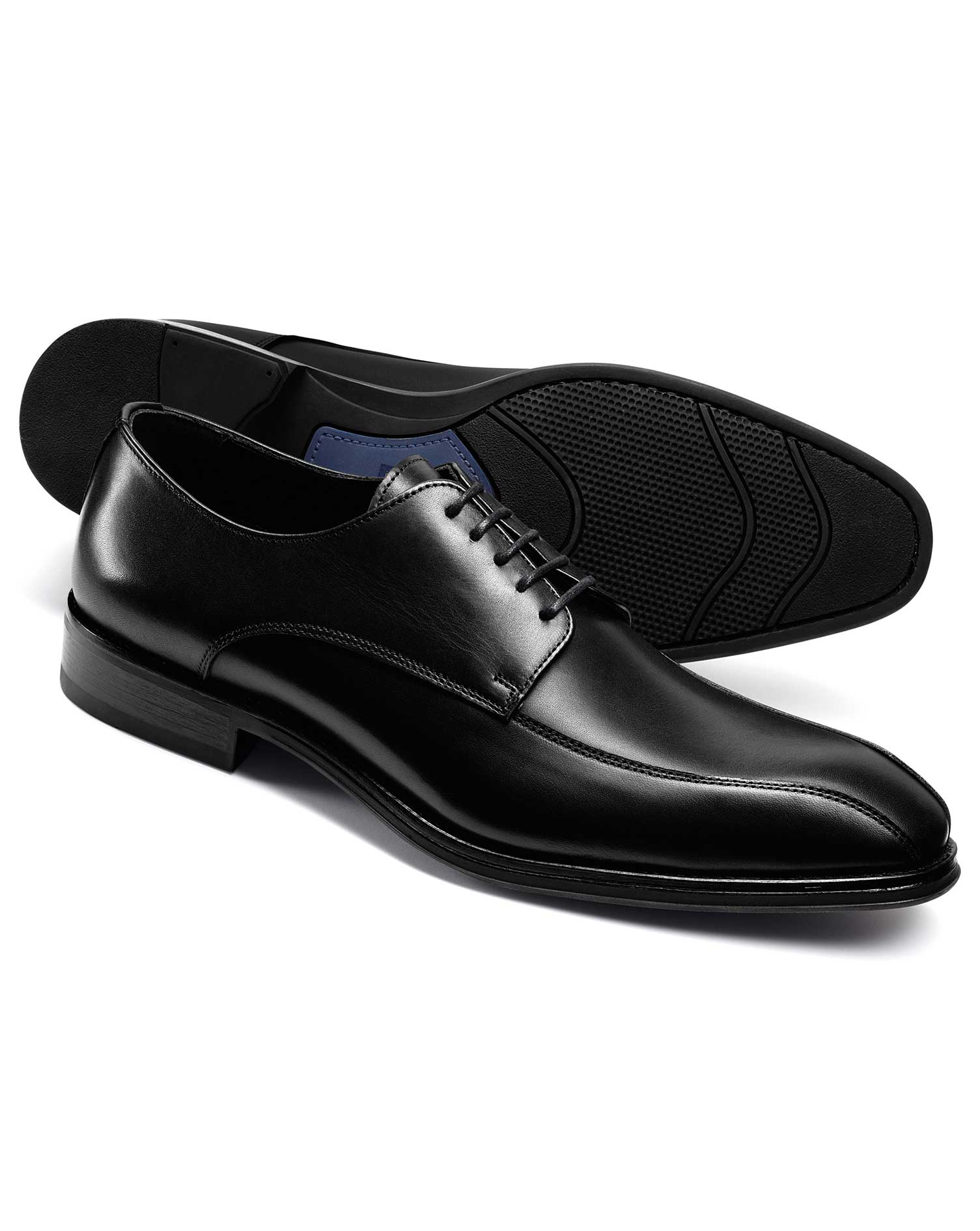 Black Performance Tramline Derby Size 8 R by Charles Tyrwhitt