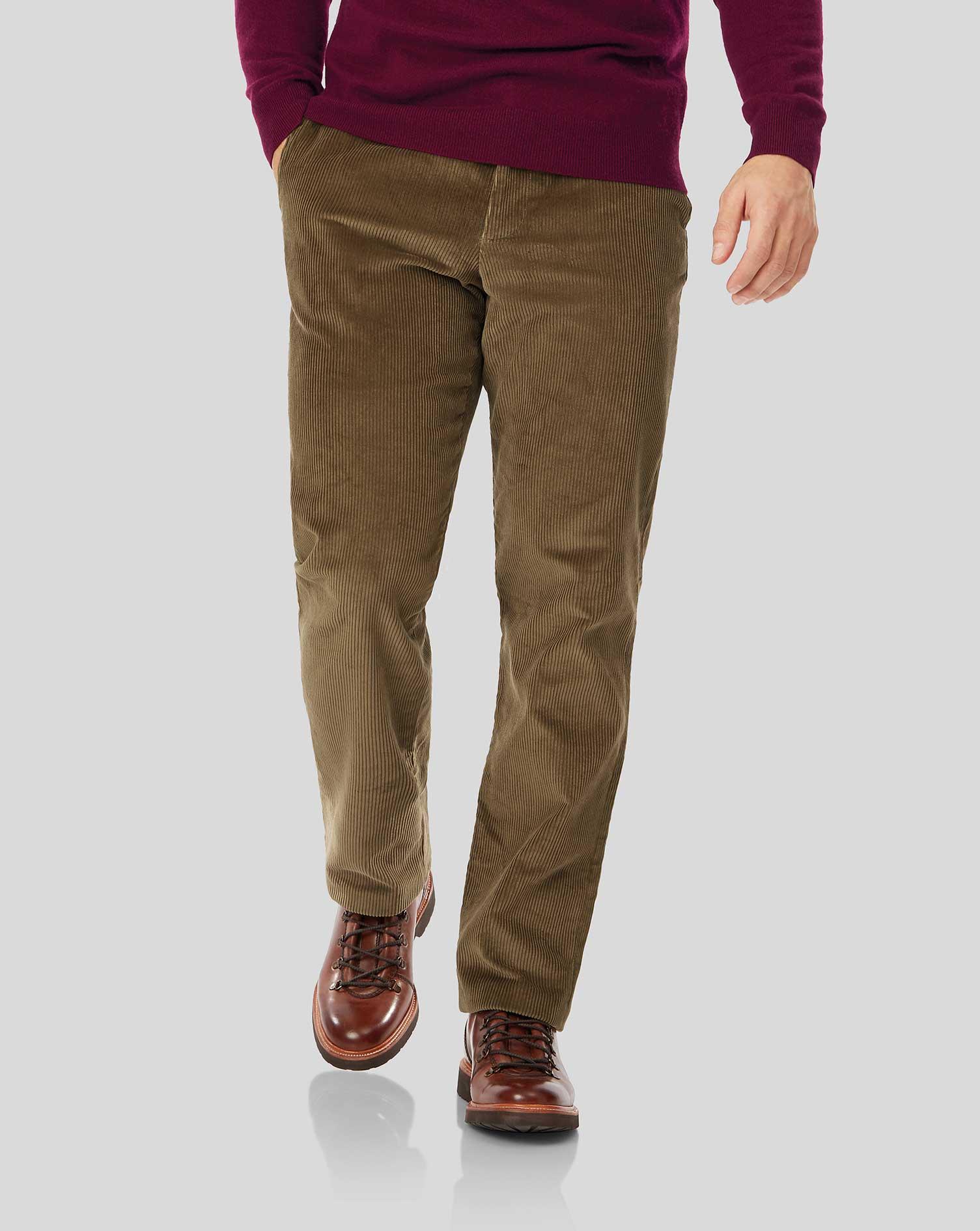 Cotton Tan Jumbo Cord Trousers