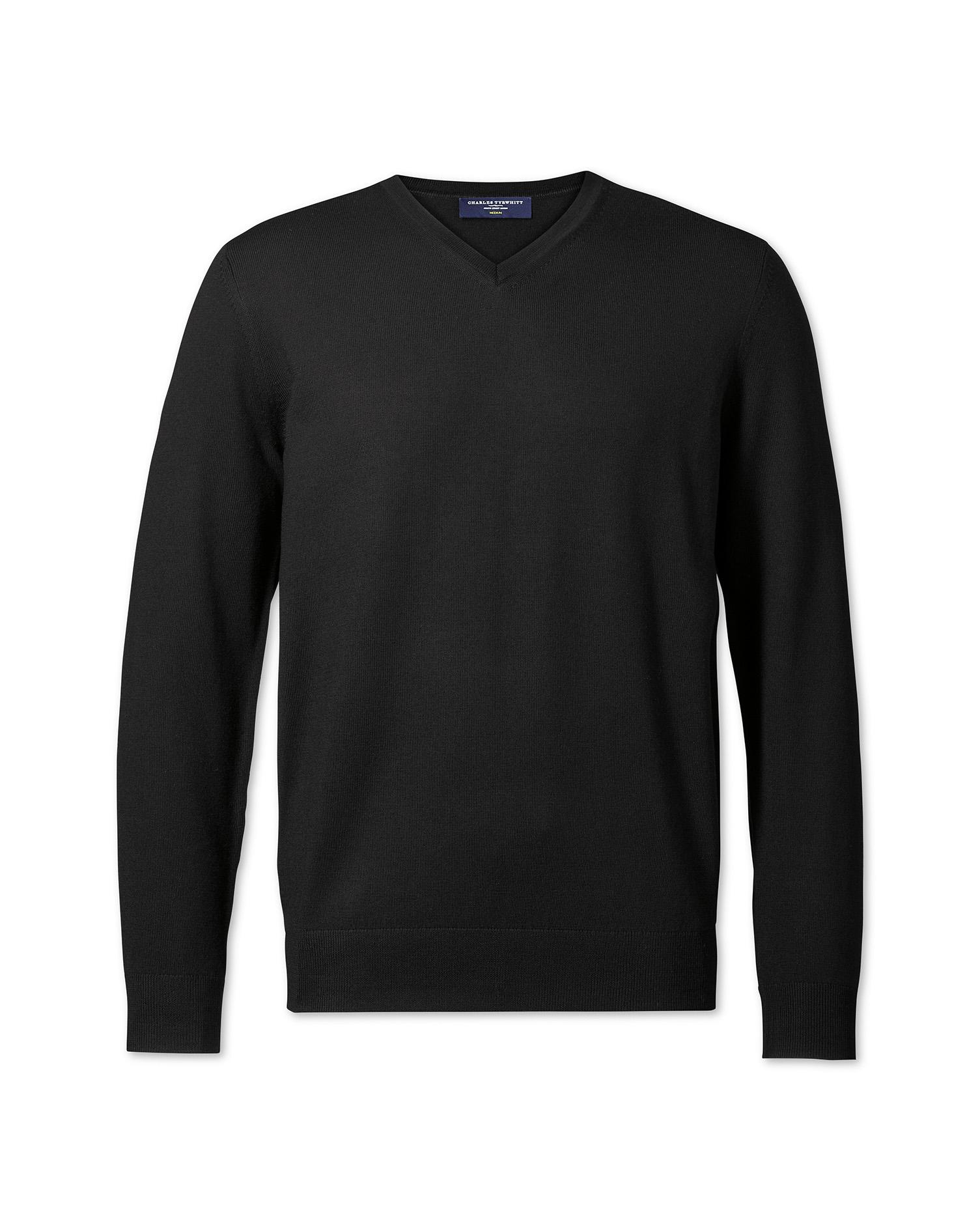 Black merino wool v-neck sweater | Charles Tyrwhitt