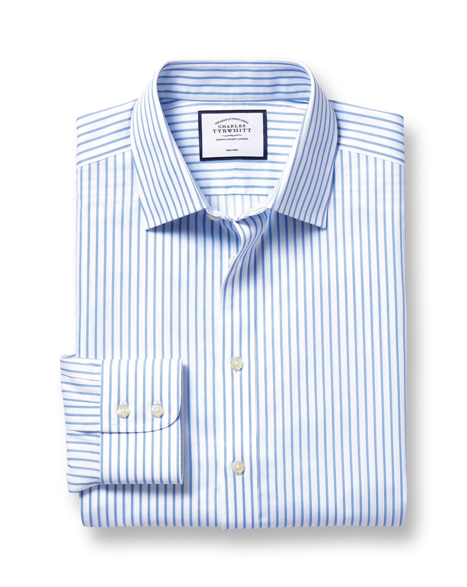 Slim Fit Non-Iron Twill White and Sky Blue Stripe Cotton Formal Shirt Single Cuff Size 15/32 by Char