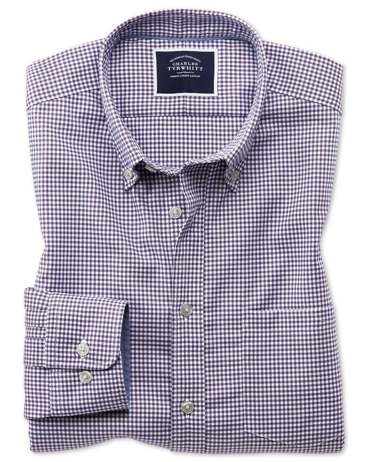 Slim Fit Purple Gingham Soft Washed Non-Iron Stretch Cotton Shirt Single Cuff Size XL by Charles Tyr