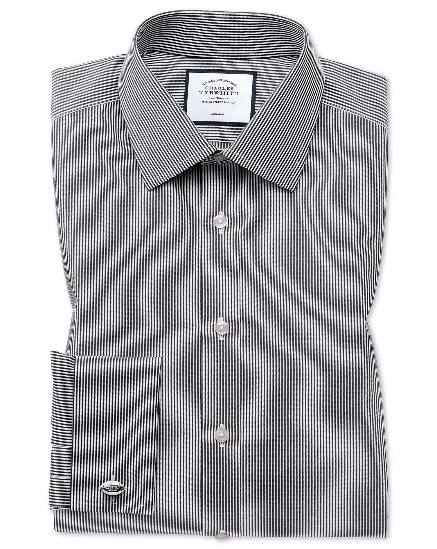 Classic Fit Non-Iron Black Bengal Stripe Cotton Formal Shirt Double Cuff Size 17/36 by Charles Tyrwh