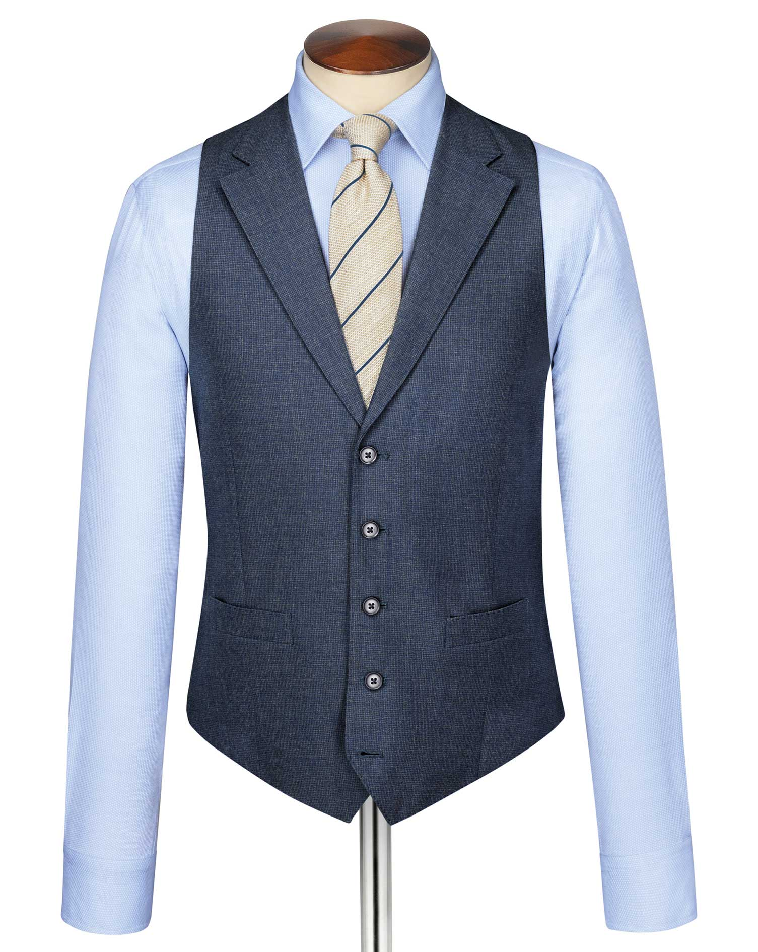 Airforce Blue Puppytooth Panama Business Suit Wool Waistcoat Size w42 by Charles Tyrwhitt