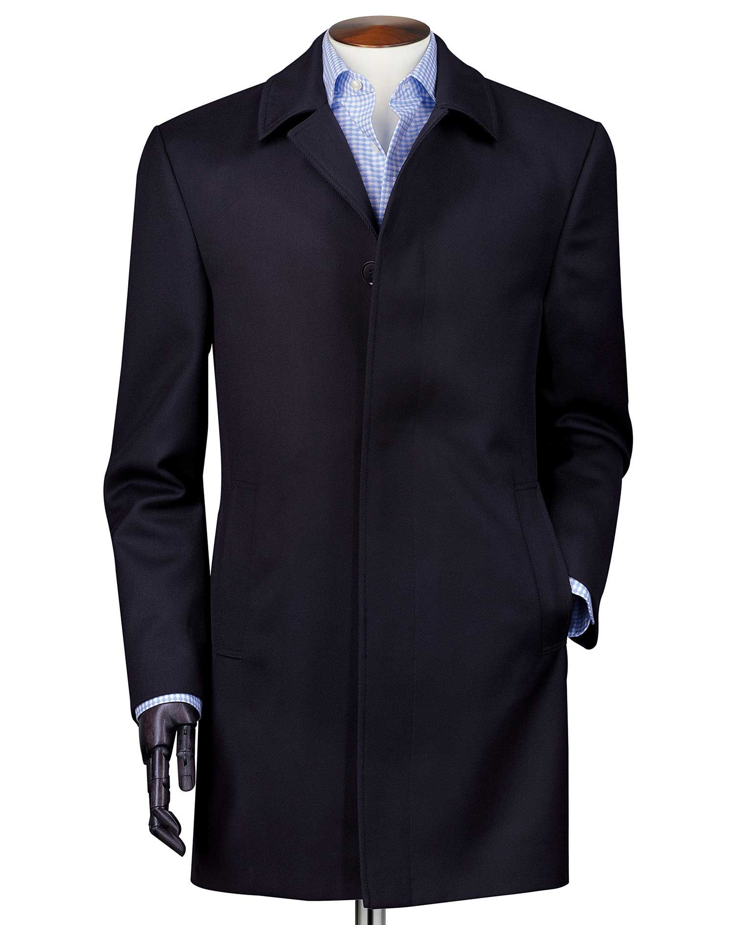 Navy Twill Weatherproof Wool Car Coat Size 44 Regular by Charles Tyrwhitt