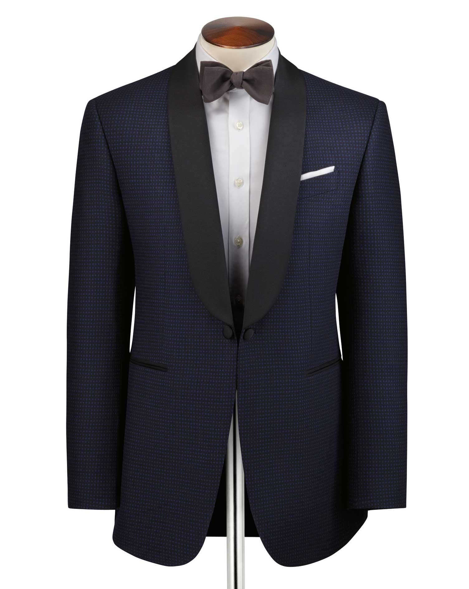 Navy and Blue Slim Fit Shawl Collar Tuxedo Suit Wool Jacket Size 40 Regular by Charles Tyrwhitt