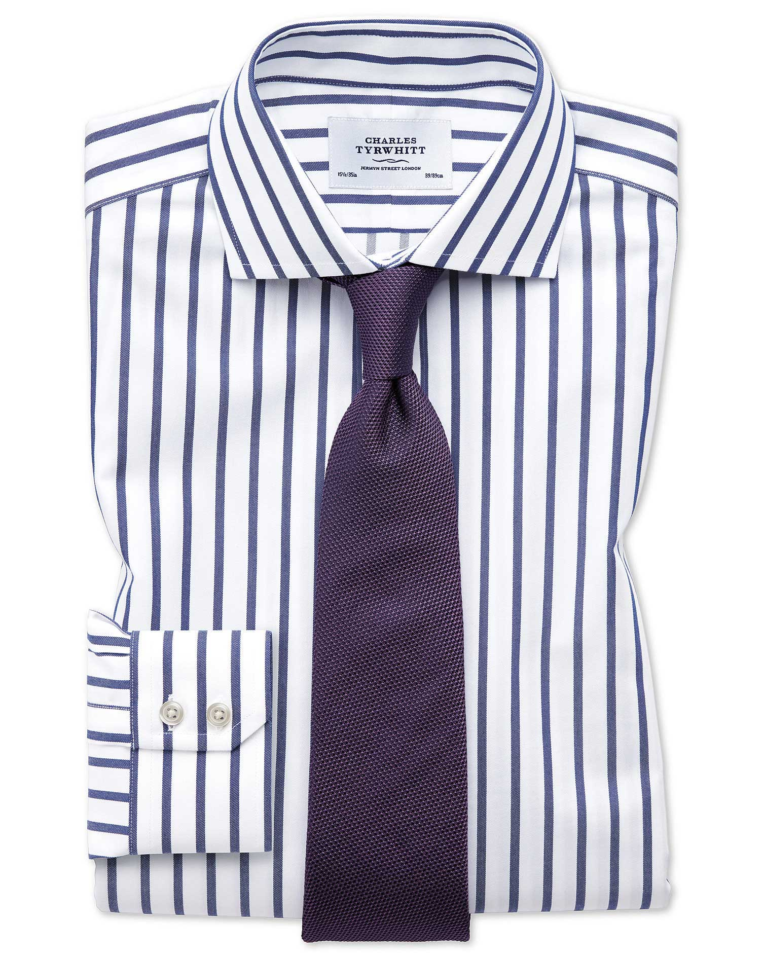 Slim Fit Cutaway Non-Iron Bengal Wide Stripe White and Blue Cotton Formal Shirt Single Cuff Size 16/