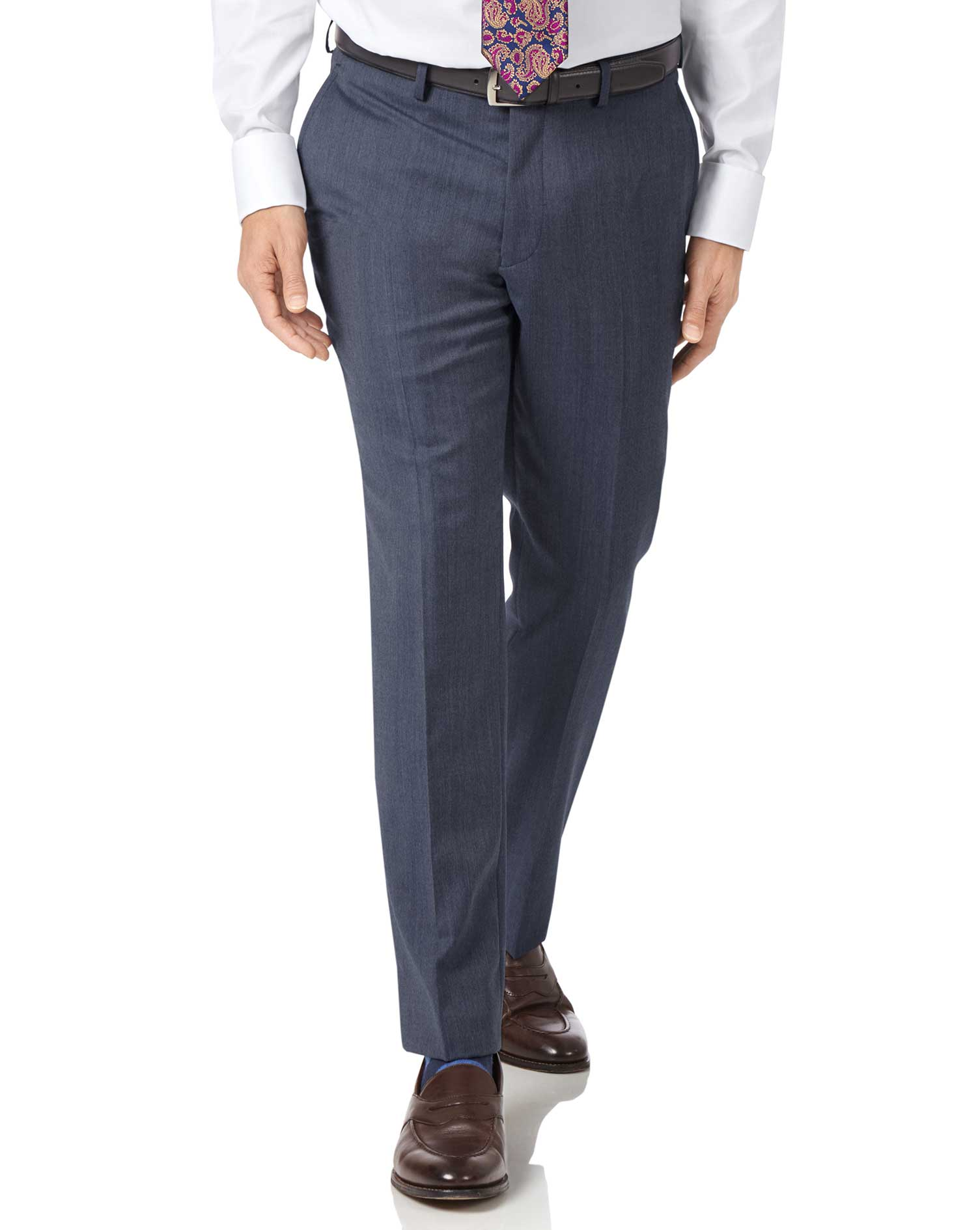 Light Blue Slim Fit Twill Business Suit Trousers Size W36 L34 by Charles Tyrwhitt