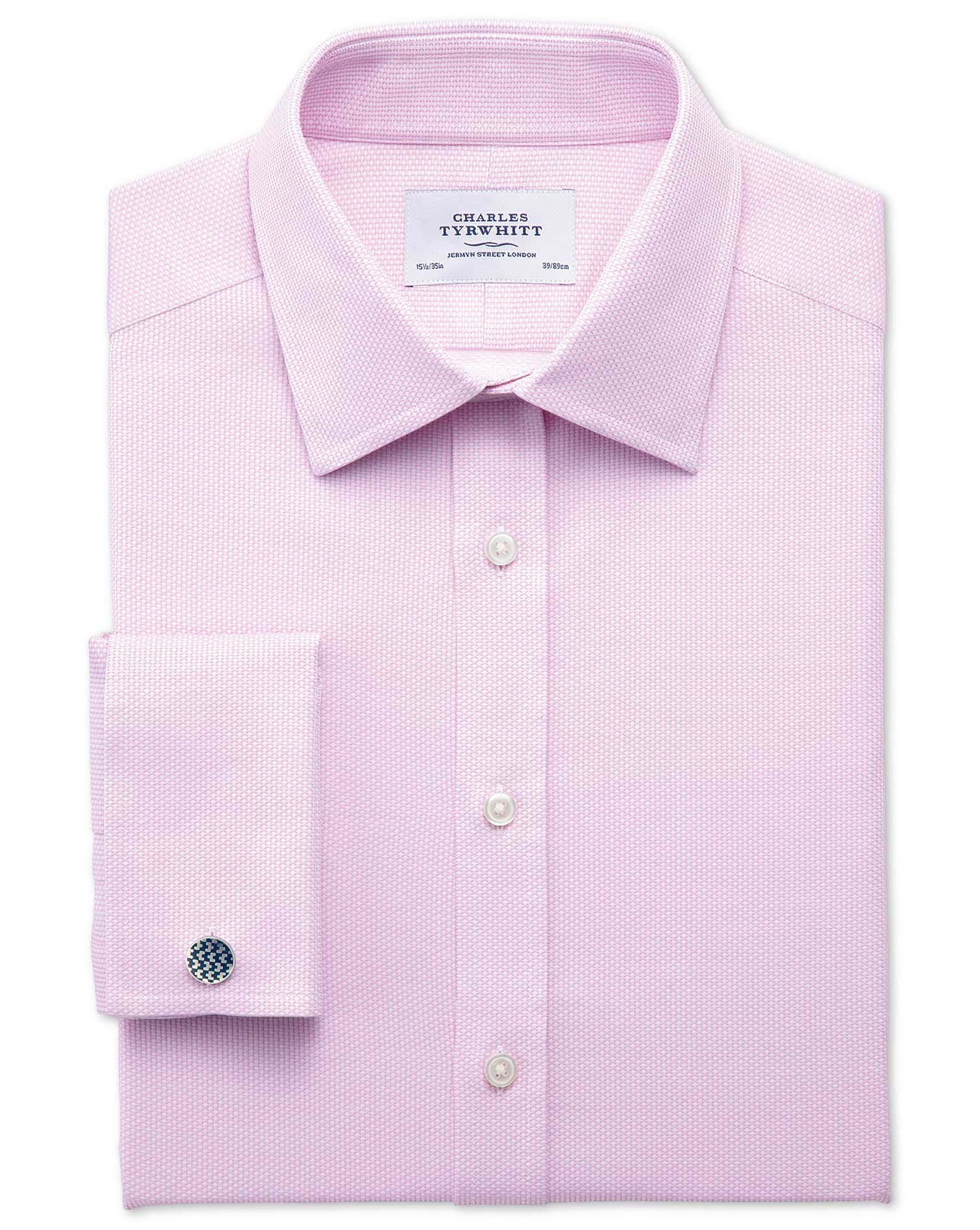 Extra Slim Fit Egyptian Cotton Diamond Texture Pink Formal Shirt Single Cuff Size 14.5/32 by Charles