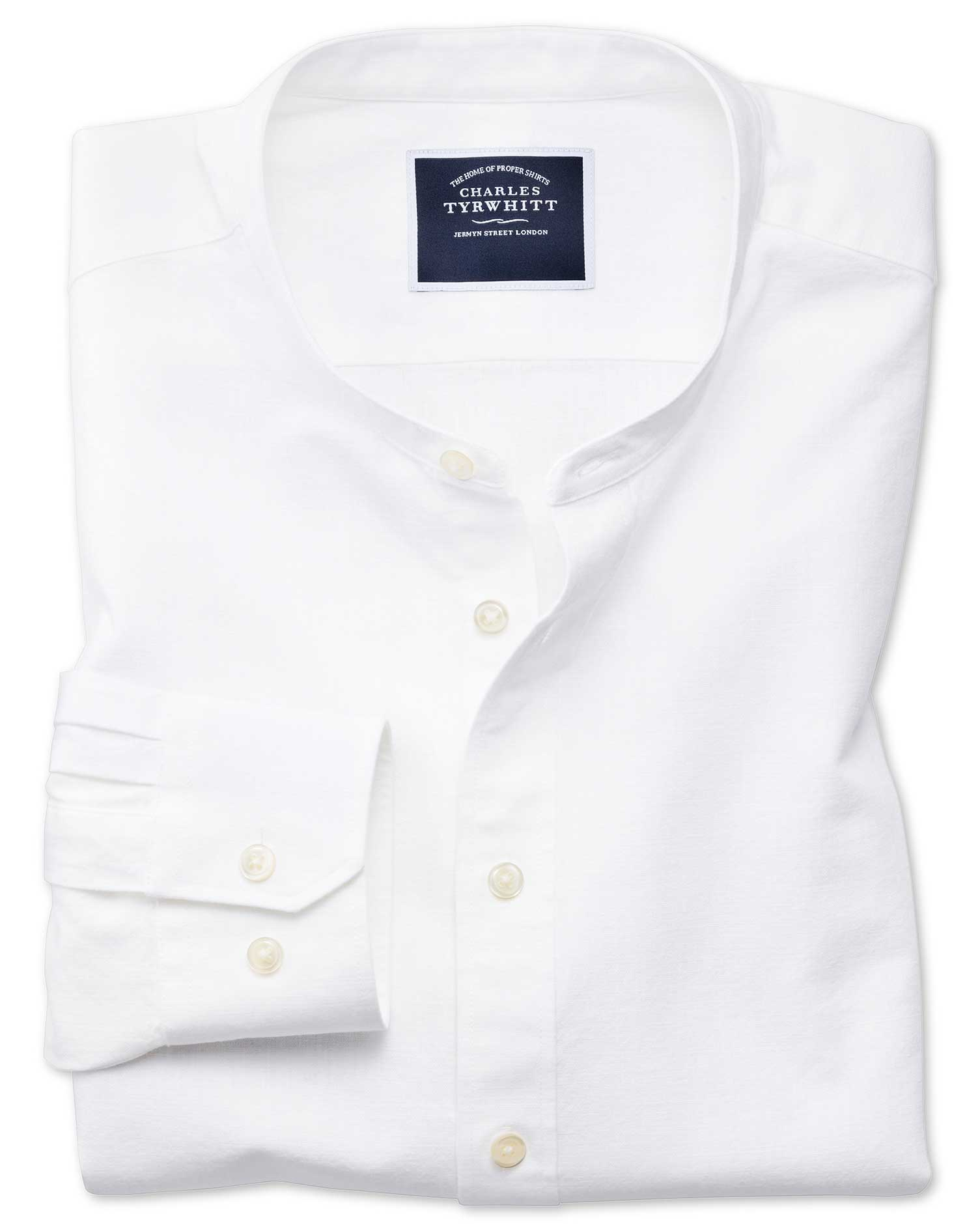Slim Fit Collarless White Cotton Shirt Single Cuff Size Medium by Charles Tyrwhitt
