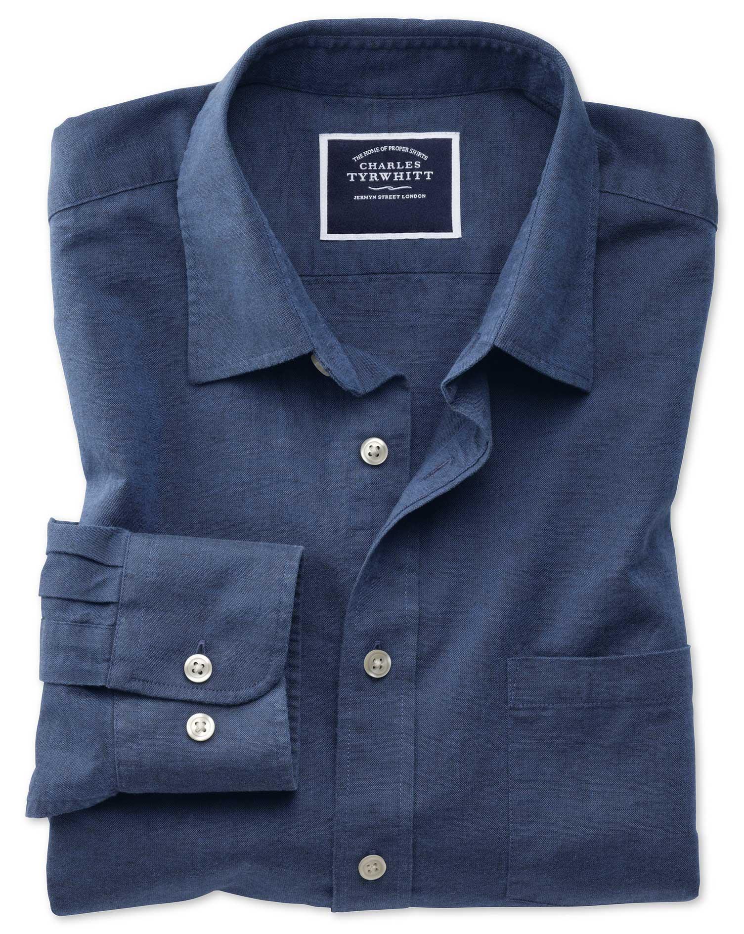 Classic Fit Cotton Linen Navy Plain Shirt Single Cuff Size Small by Charles Tyrwhitt
