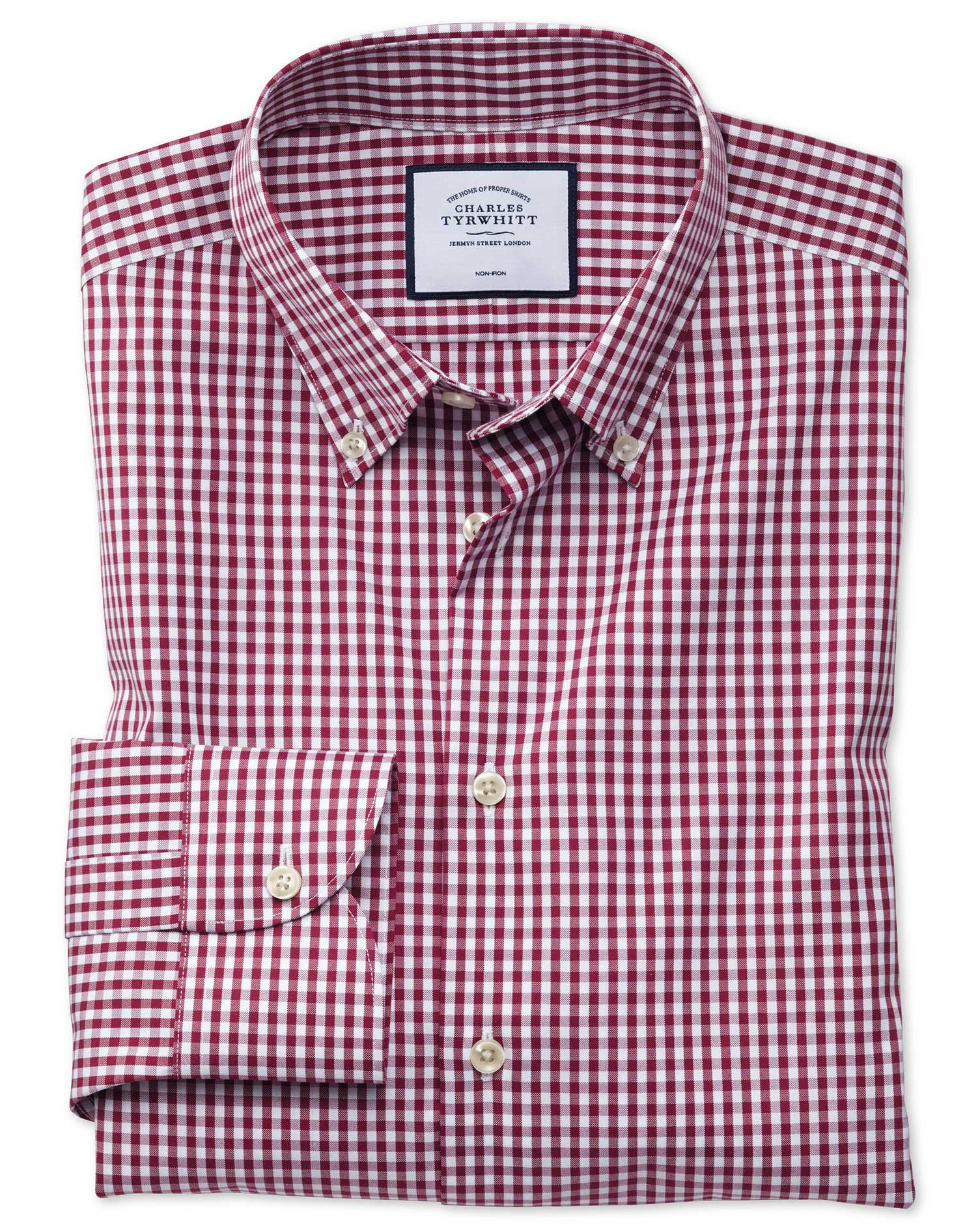 Slim Fit Business Casual Non-Iron Button-Down Berry Check Cotton Formal Shirt Single Cuff Size 15/34