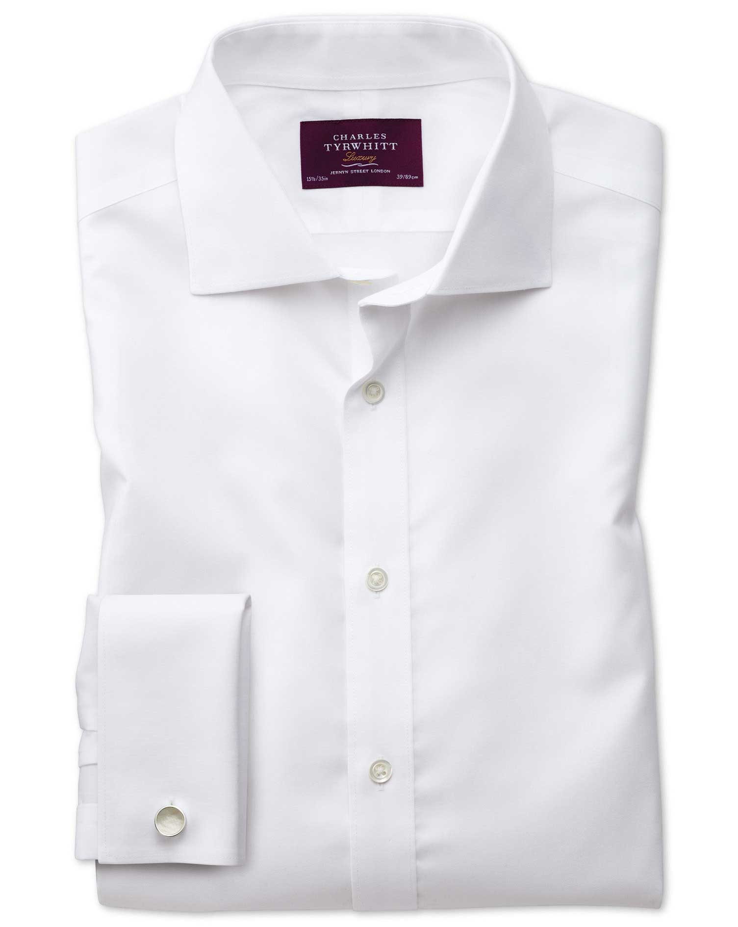Extra Slim Fit Semi-Cutaway Non-Iron Luxury White Cotton Formal Shirt Double Cuff Size 16.5/35 by Ch