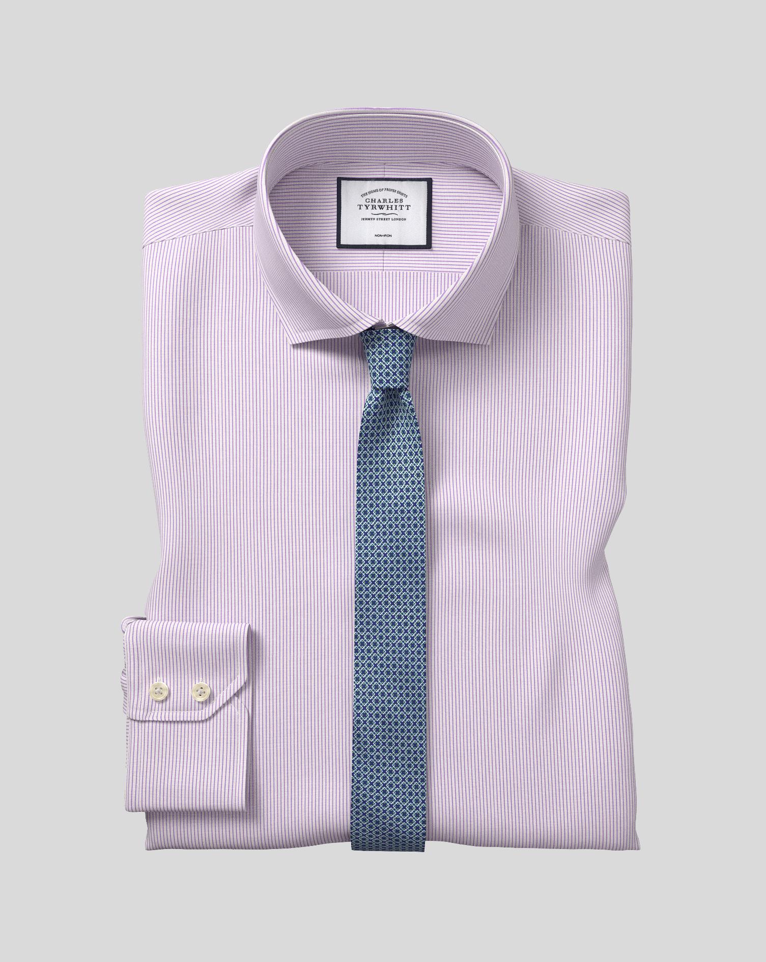 Cotton Cutaway Collar Non-Iron 4 Way Stretch Stripe Shirt- Lilac