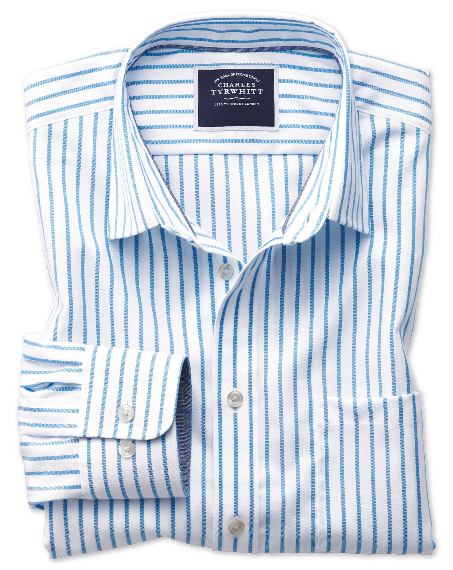 Classic Fit Non-Iron Oxford White and Blue Stripe Cotton Shirt Single Cuff Size Small by Charles Tyr