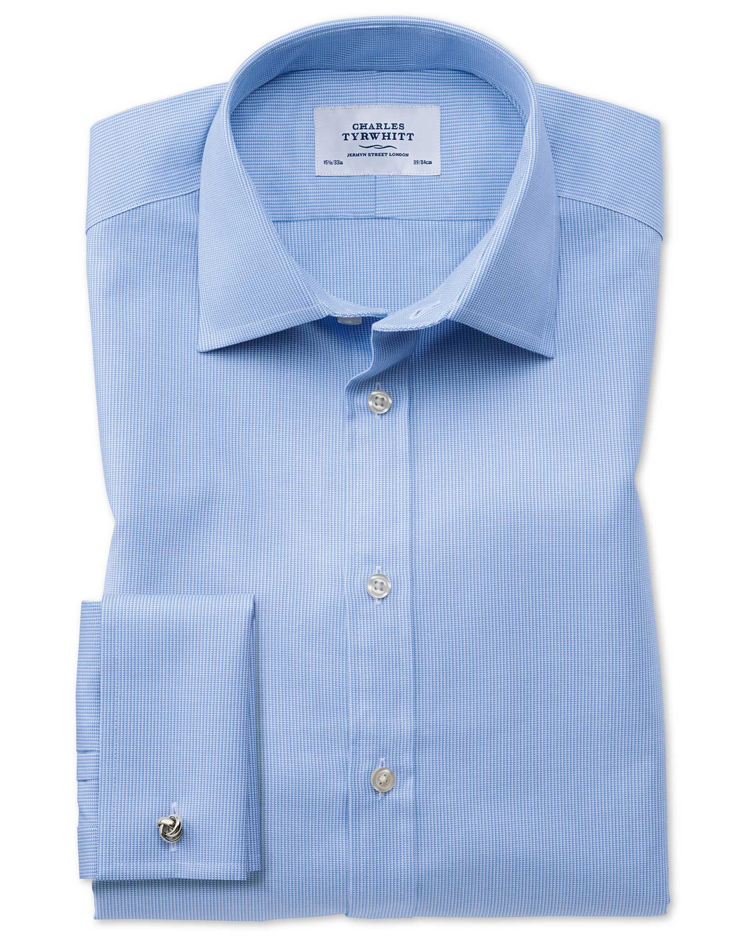 Classic Fit Oxford Sky Blue Cotton Formal Shirt Double Cuff Size 15.5/37 by Charles Tyrwhitt