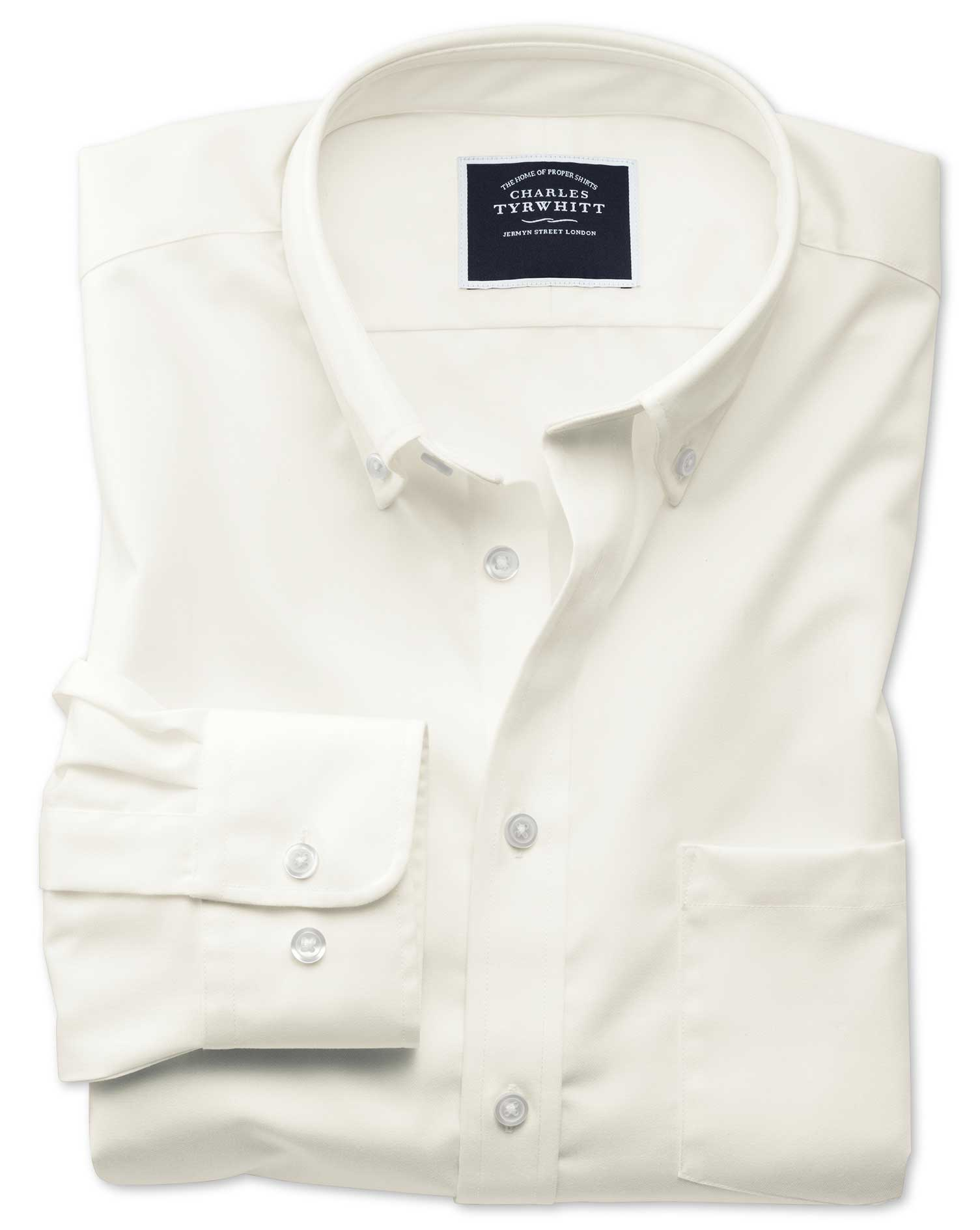 Slim Fit Button-Down Non-Iron Twill Off-White Cotton Shirt Single Cuff Size XS by Charles Tyrwhitt