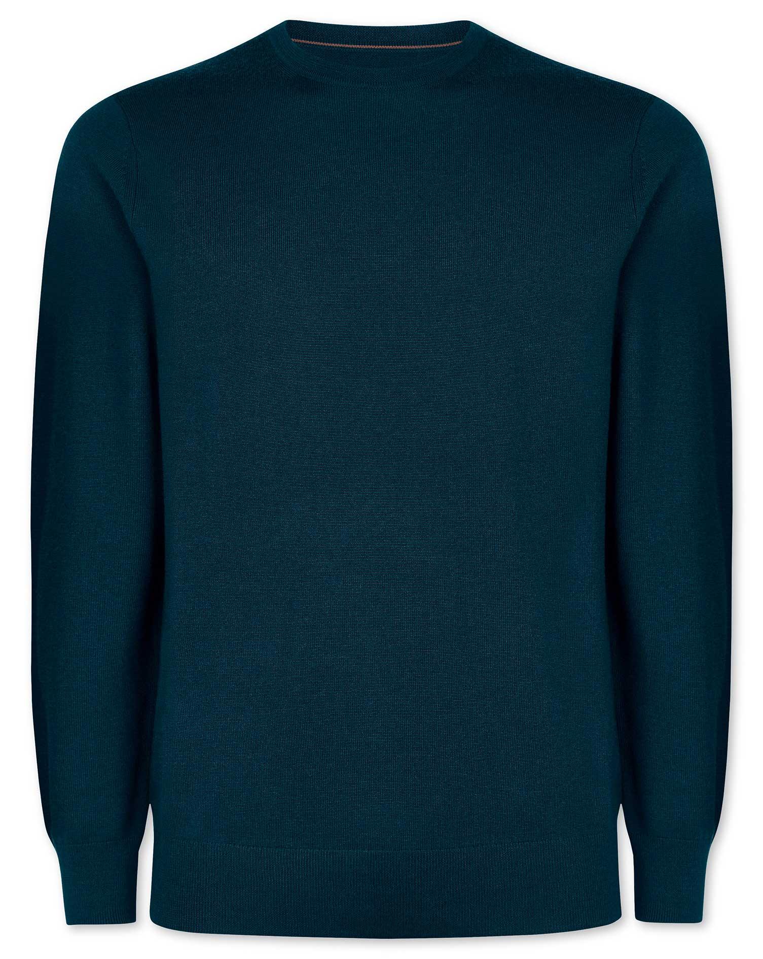 Teal Merino Crew Neck Wool Jumper Size XXXL by Charles Tyrwhitt