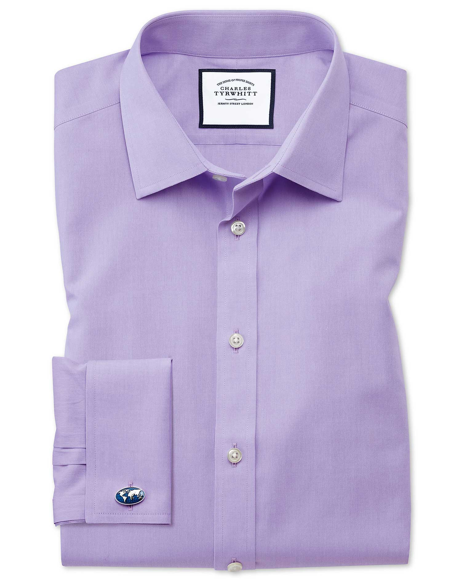 Slim Fit Non-Iron Poplin Lilac Cotton Formal Shirt Single Cuff Size 16/36 by Charles Tyrwhitt