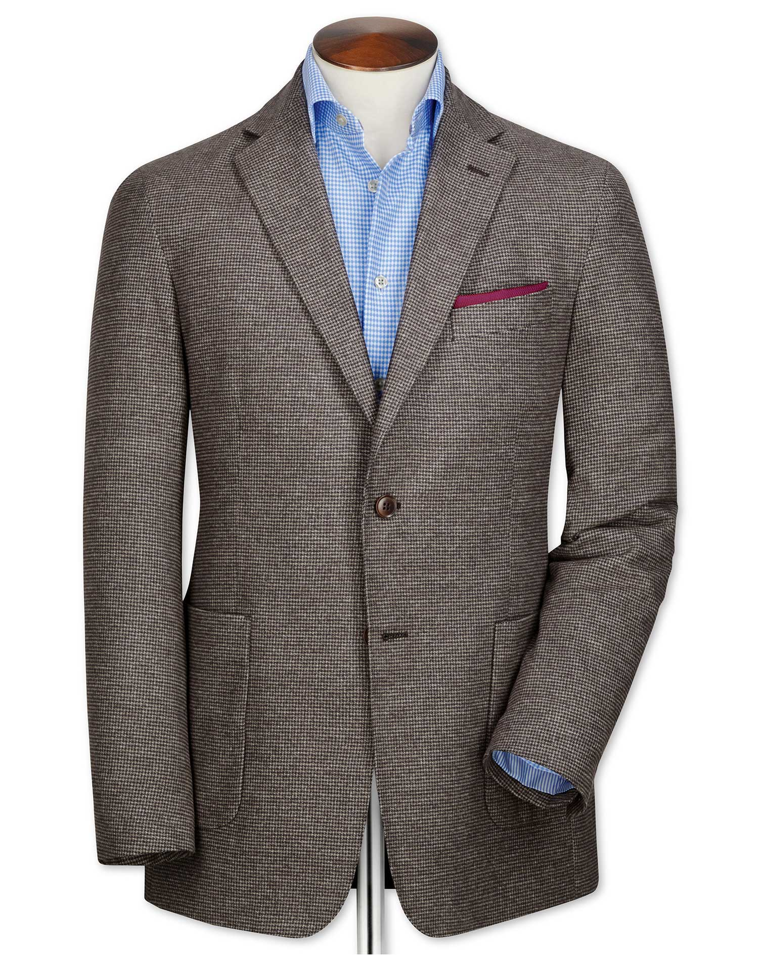 Slim Fit Brown Semi-Plain Cotton Flannel Cotton Jacket Size 42 Short by Charles Tyrwhitt