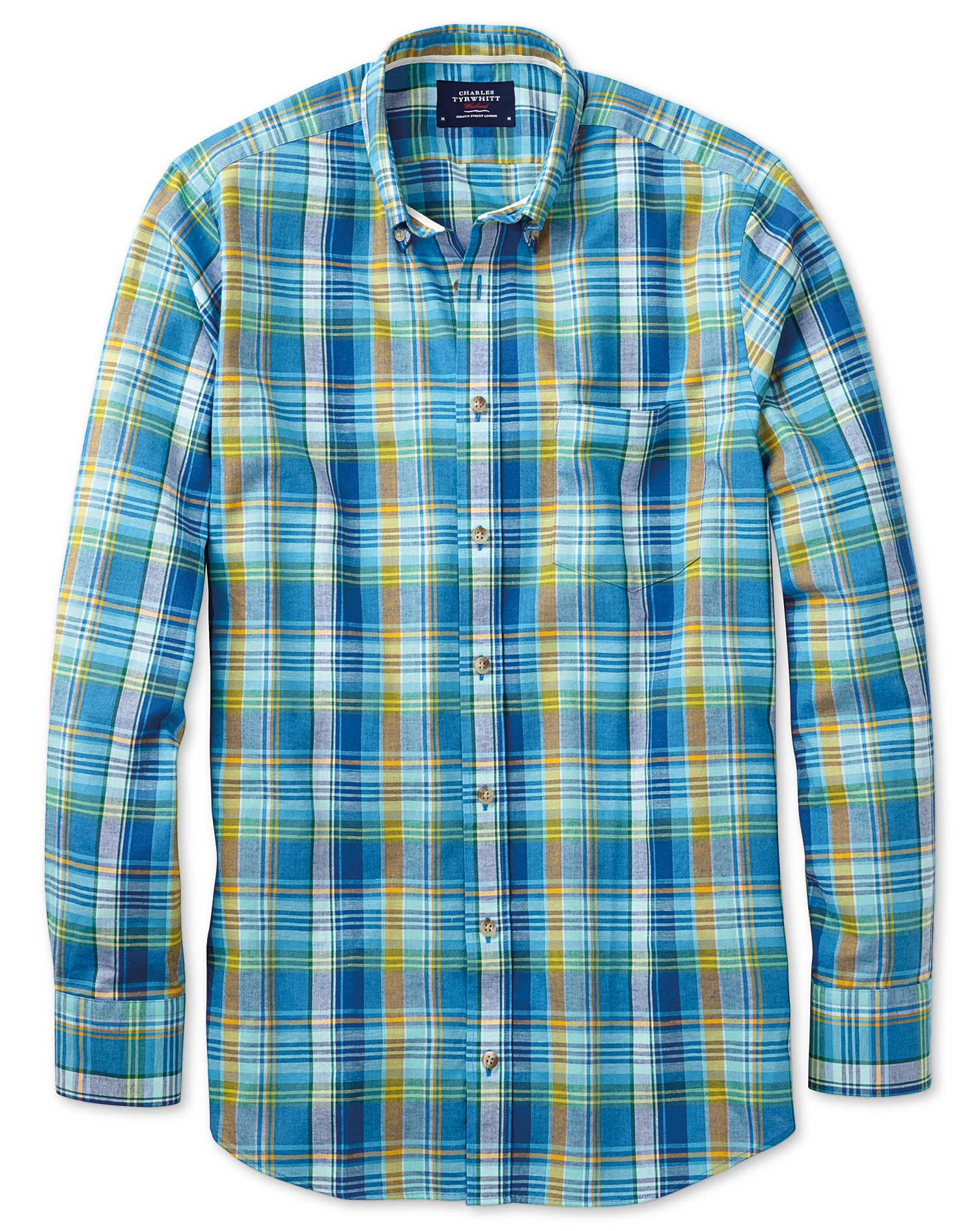 Classic Fit Green and Blue Check Shirt Single Cuff Size Small by Charles Tyrwhitt