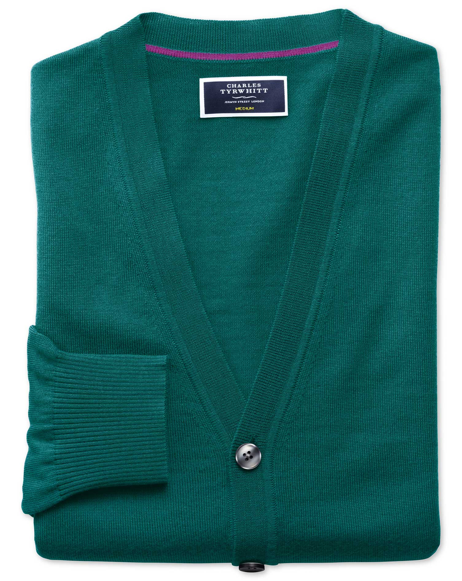 Teal Merino Wool Cardigan Size Large by Charles Tyrwhitt