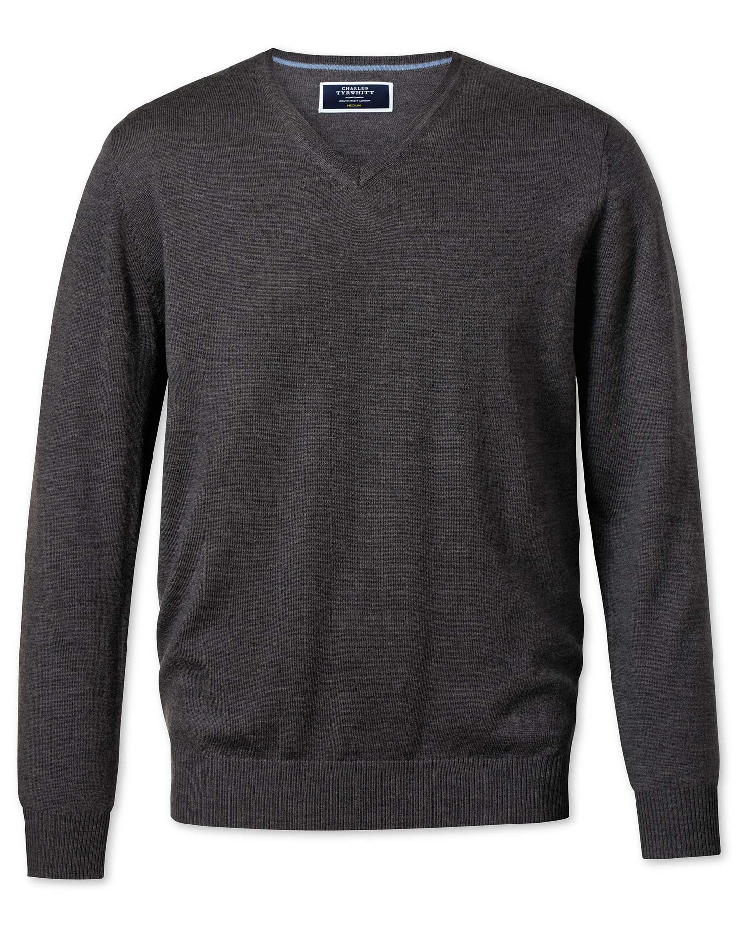 Charcoal Merino Wool V-Neck Jumper Size Large by Charles Tyrwhitt