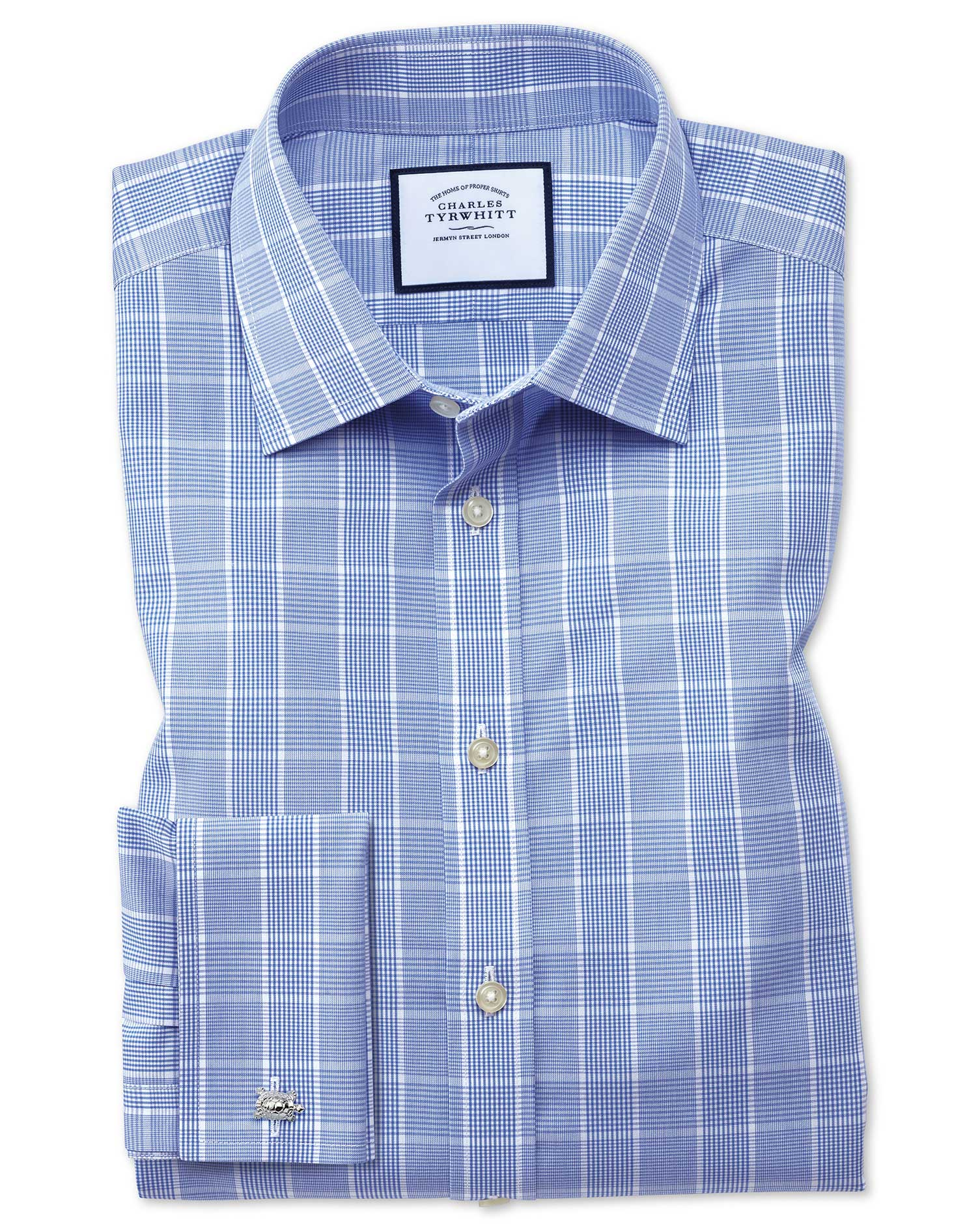 Classic Fit Non-Iron Prince Of Wales Mid Blue Cotton Formal Shirt Single Cuff Size 18/38 by Charles