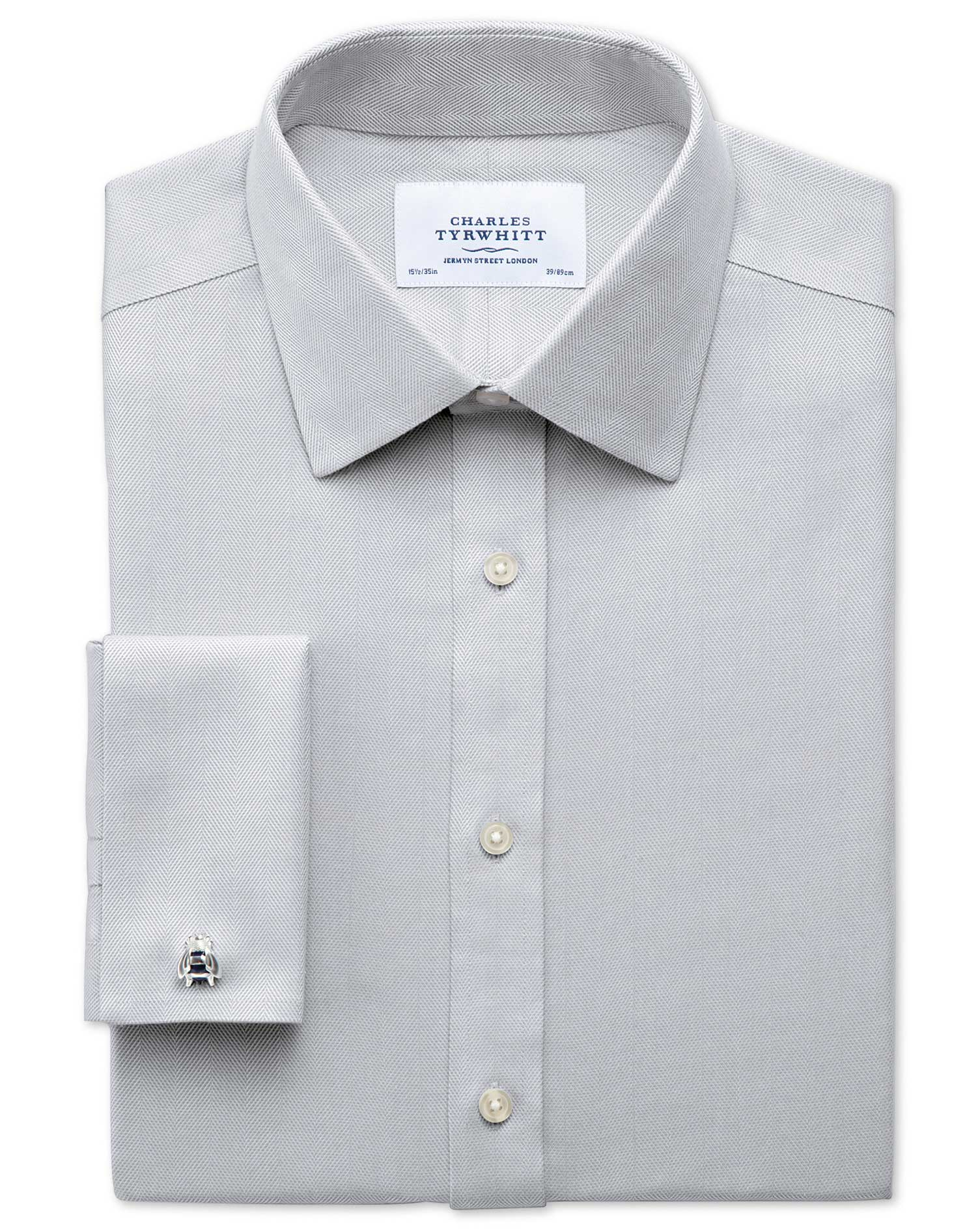 Classic Fit Non-Iron Herringbone Grey Cotton Formal Shirt Double Cuff Size 15/34 by Charles Tyrwhitt