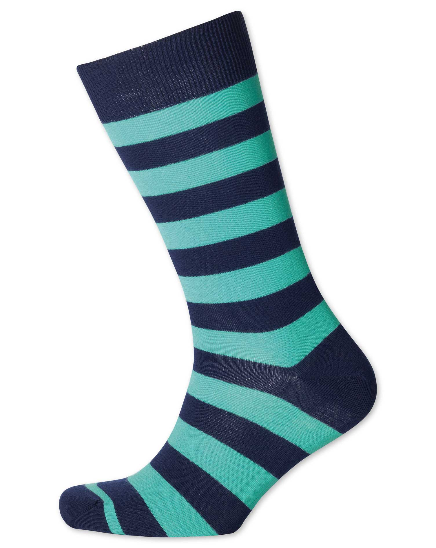 Mint and Navy Wide Stripe Socks Size Medium by Charles Tyrwhitt