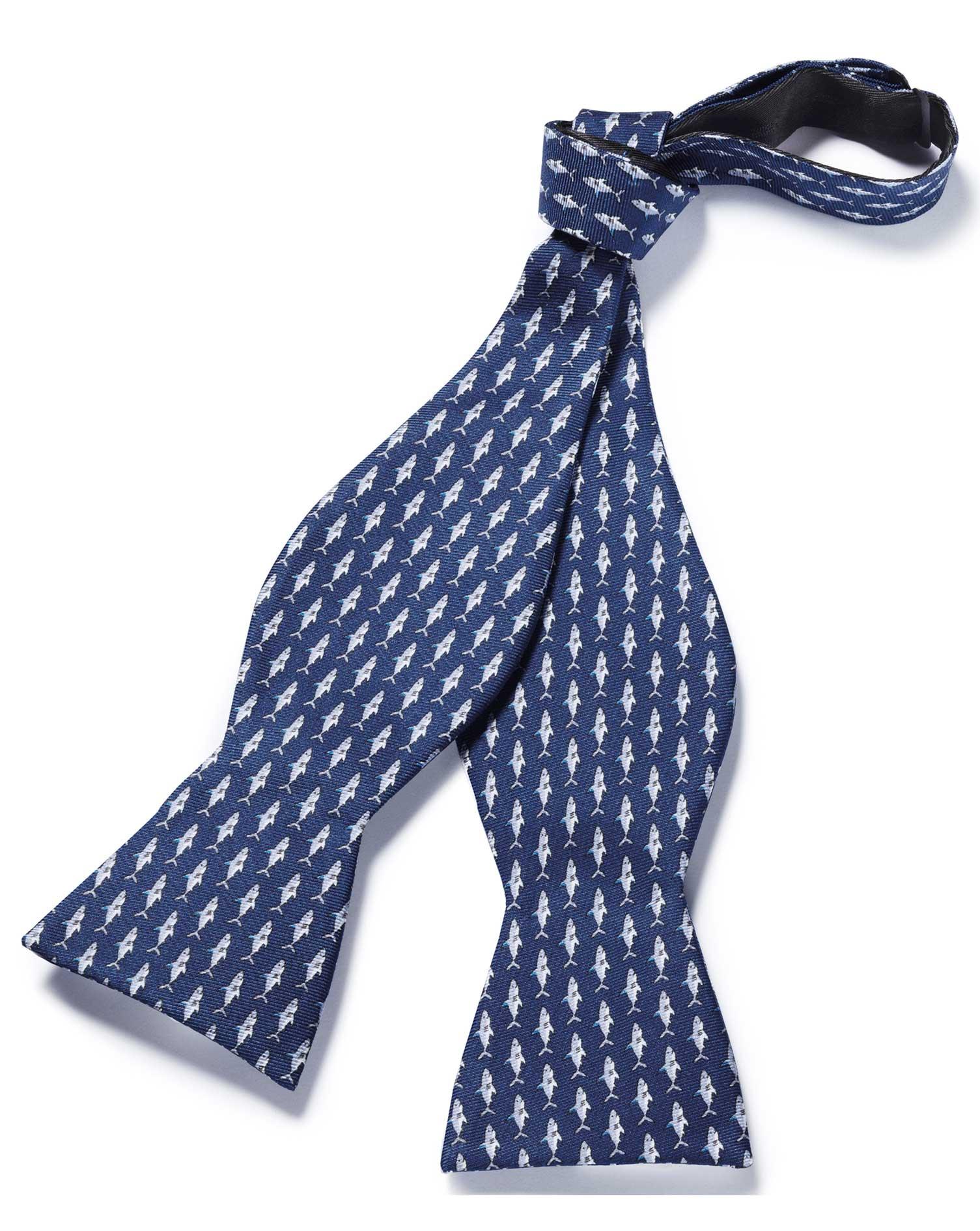 ead58905b3b Navy shark print self tie bow tie