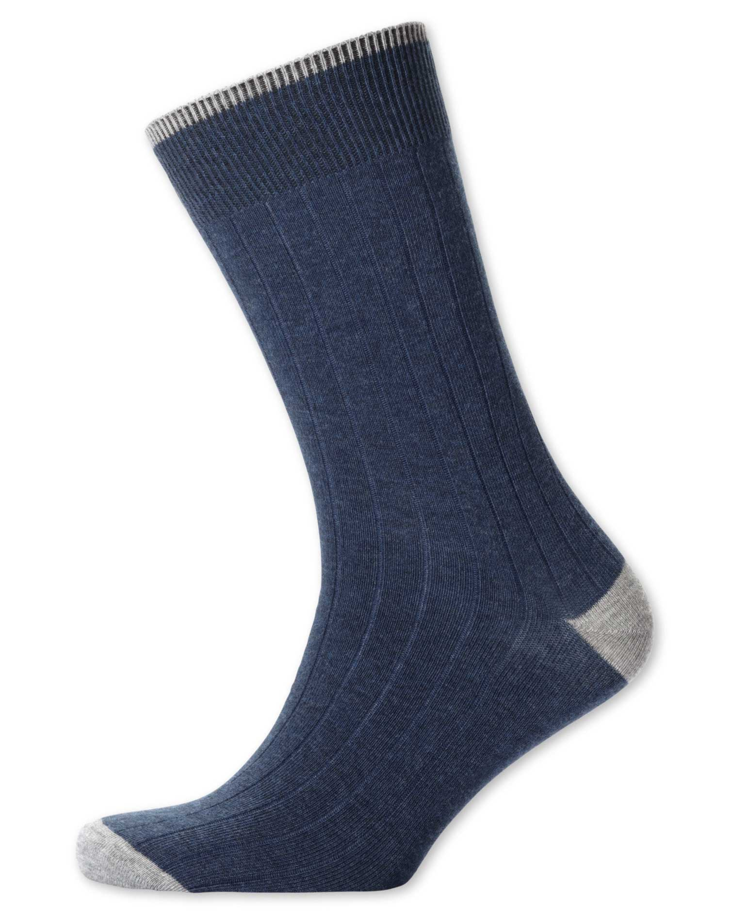 Indigo Cotton Rib Socks Size Medium by Charles Tyrwhitt
