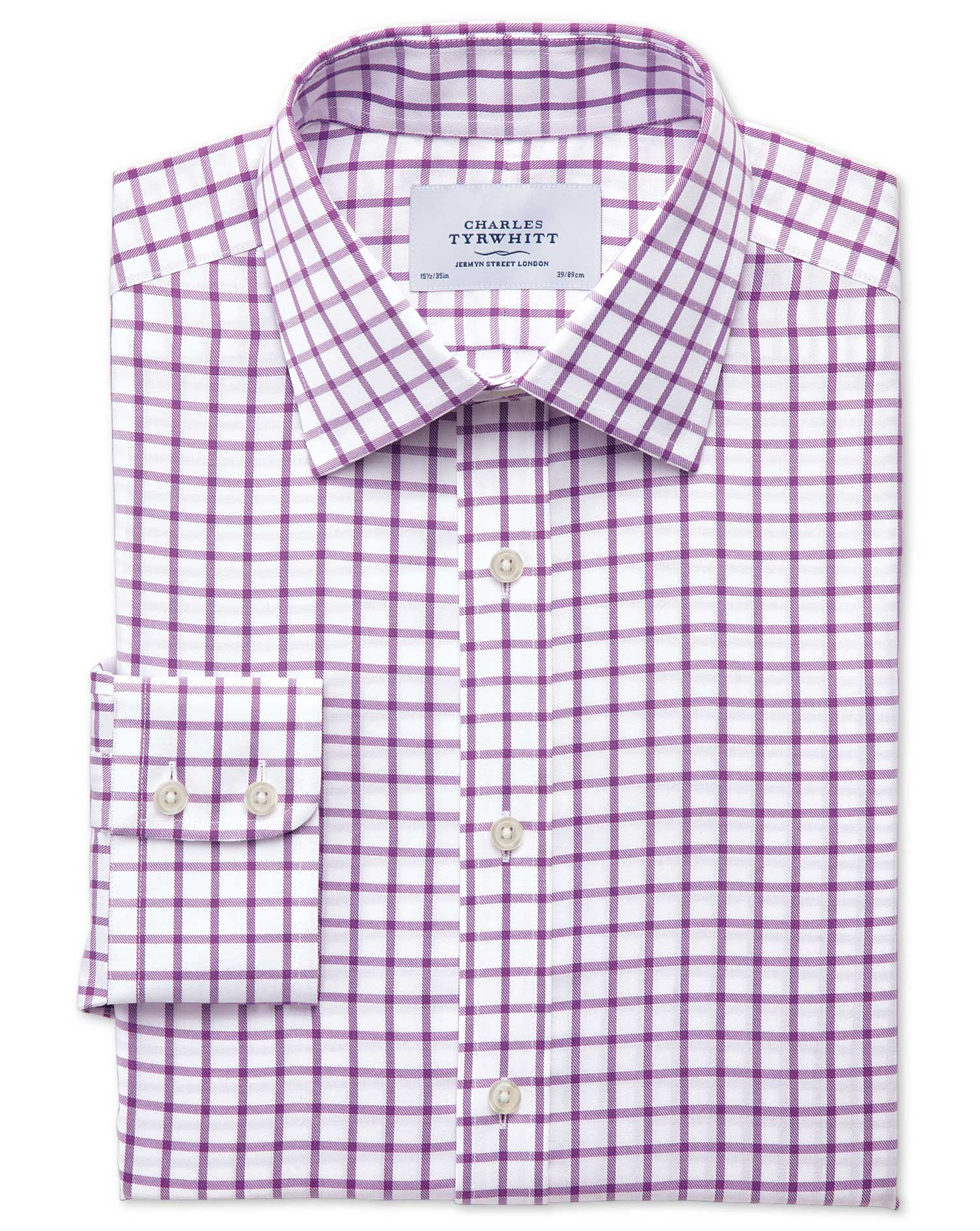 Slim Fit Non-Iron Twill Grid Check Purple Cotton Formal Shirt Single Cuff Size 16.5/34 by Charles Ty