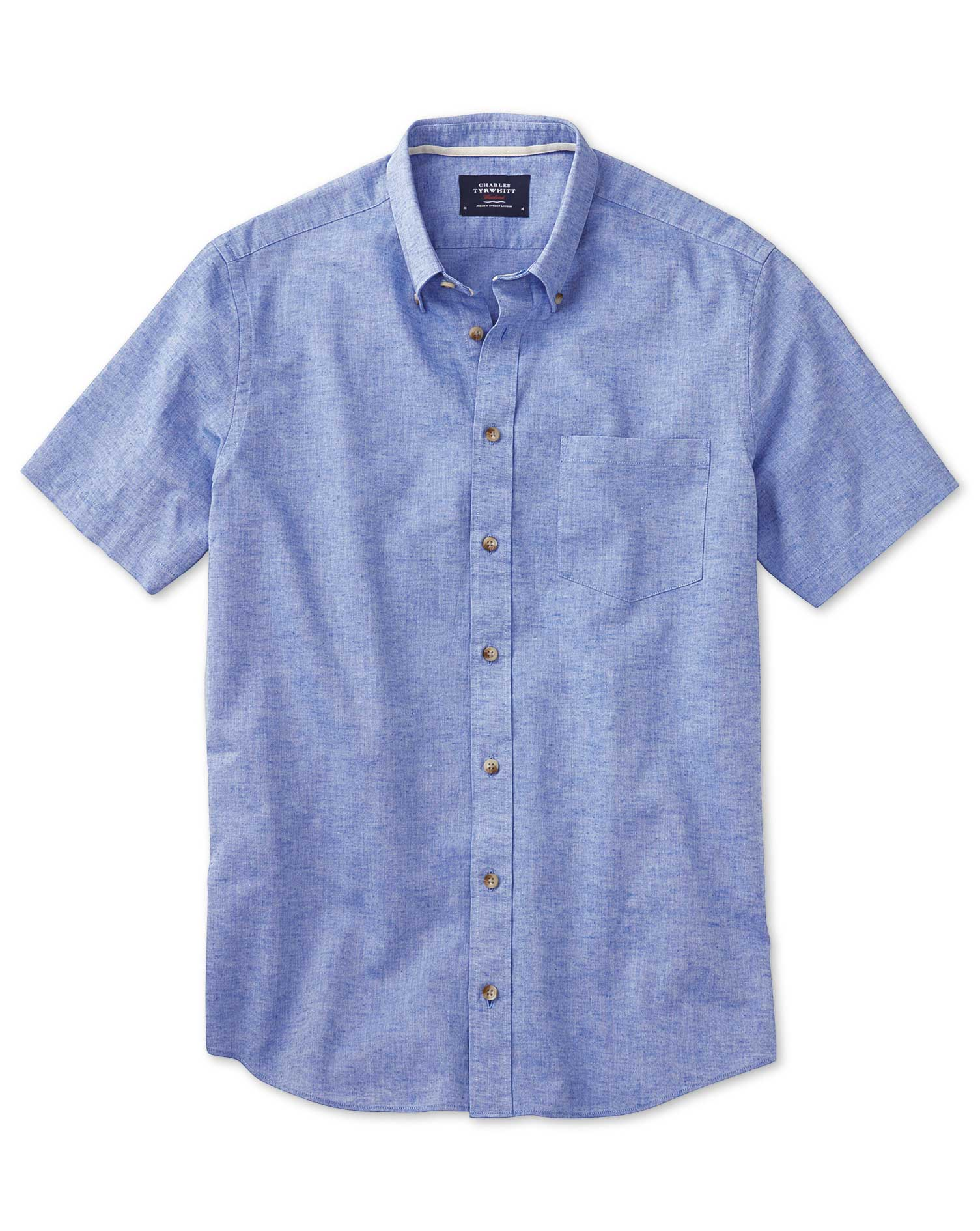 Classic Fit Short Sleeve Mid Blue Shirt Single Cuff Size Small by Charles Tyrwhitt