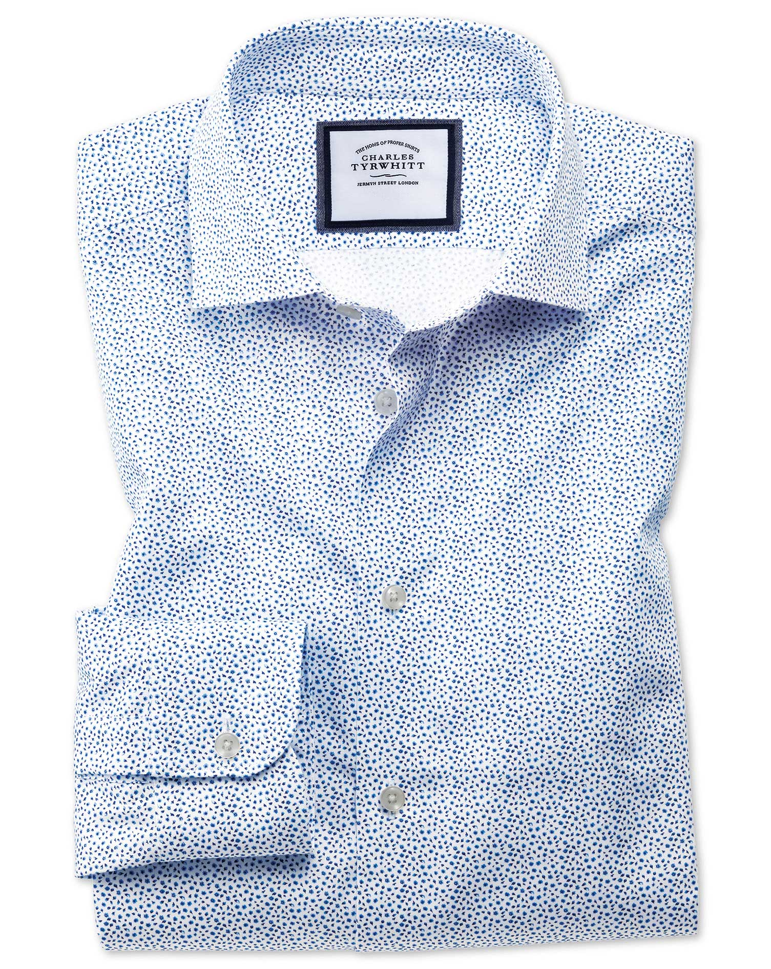 Classic Fit Semi-Cutaway Business Casual White and Blue Ditsy Print Cotton Formal Shirt Single Cuff