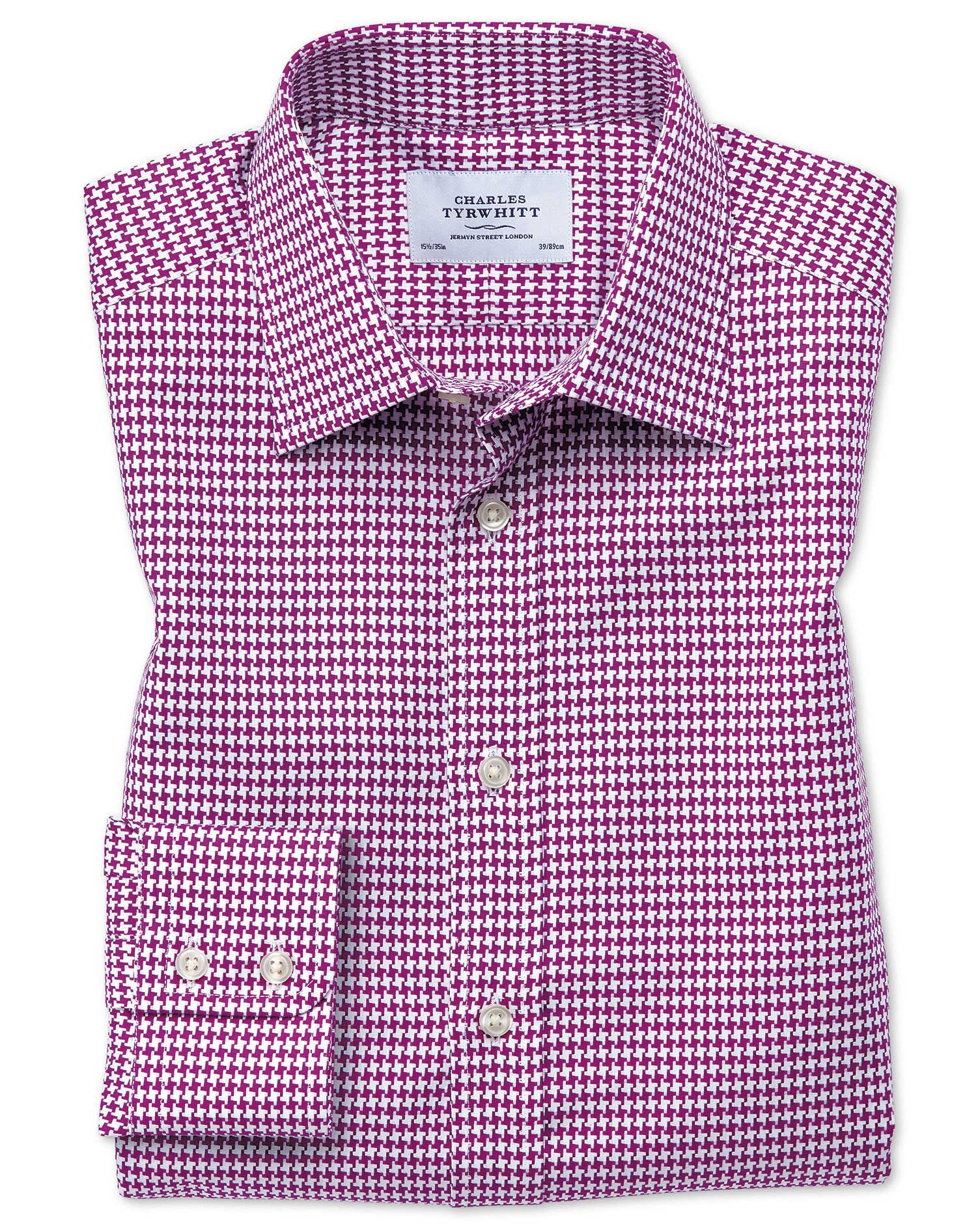 Classic Fit Large Puppytooth Berry Cotton Formal Shirt Single Cuff Size 16/35 by Charles Tyrwhitt