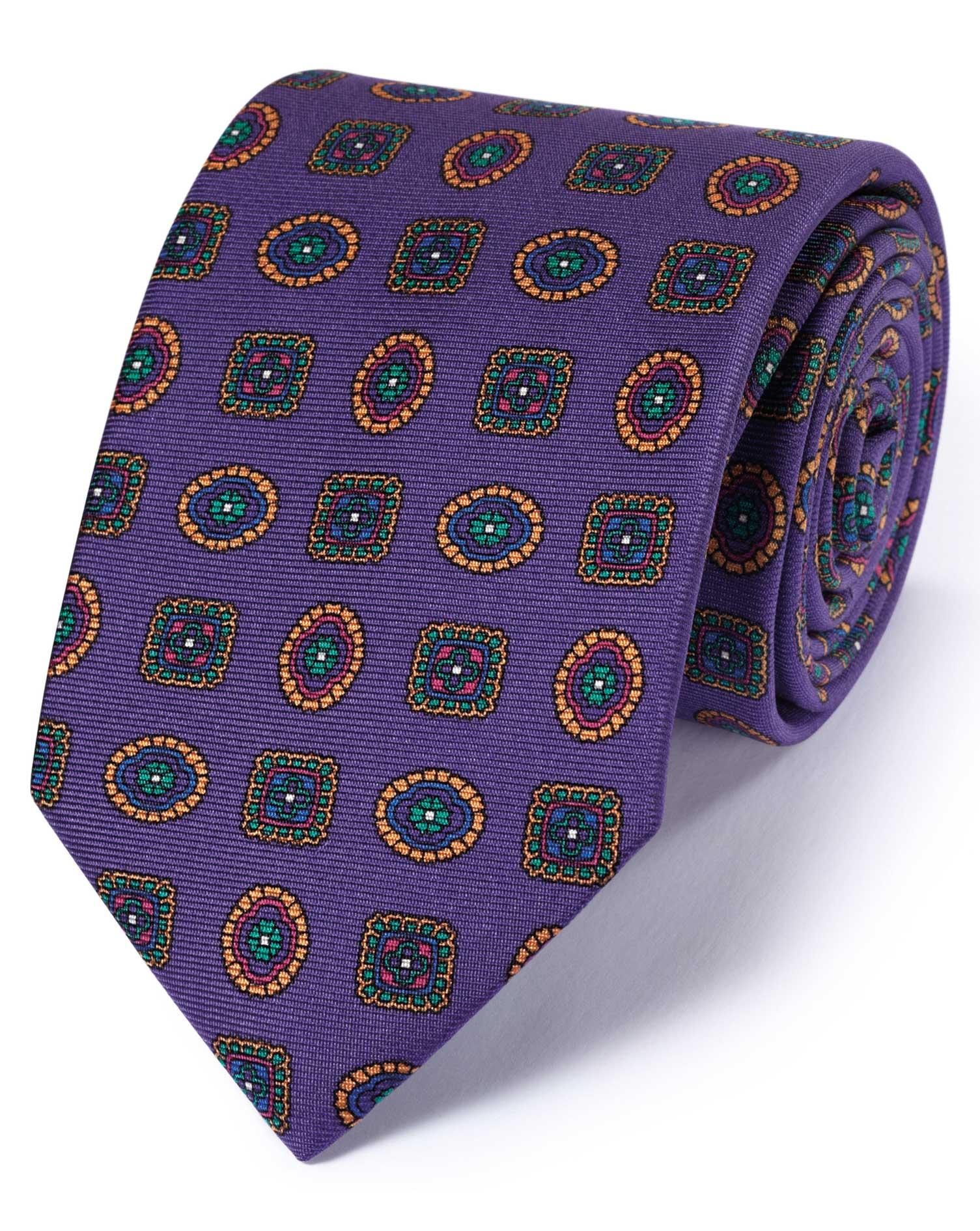 Purple Silk English Luxury Medallion Tie Size OSFA by Charles Tyrwhitt