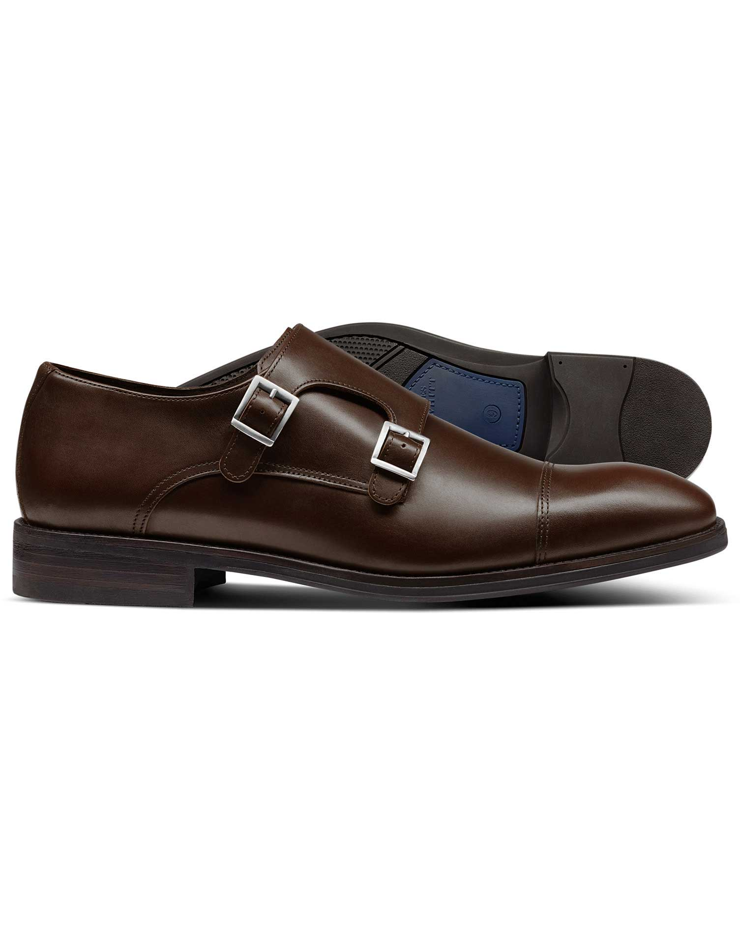 Brown Silverwell Toe Cap Monk Shoes Size 10.5 R by Charles Tyrwhitt
