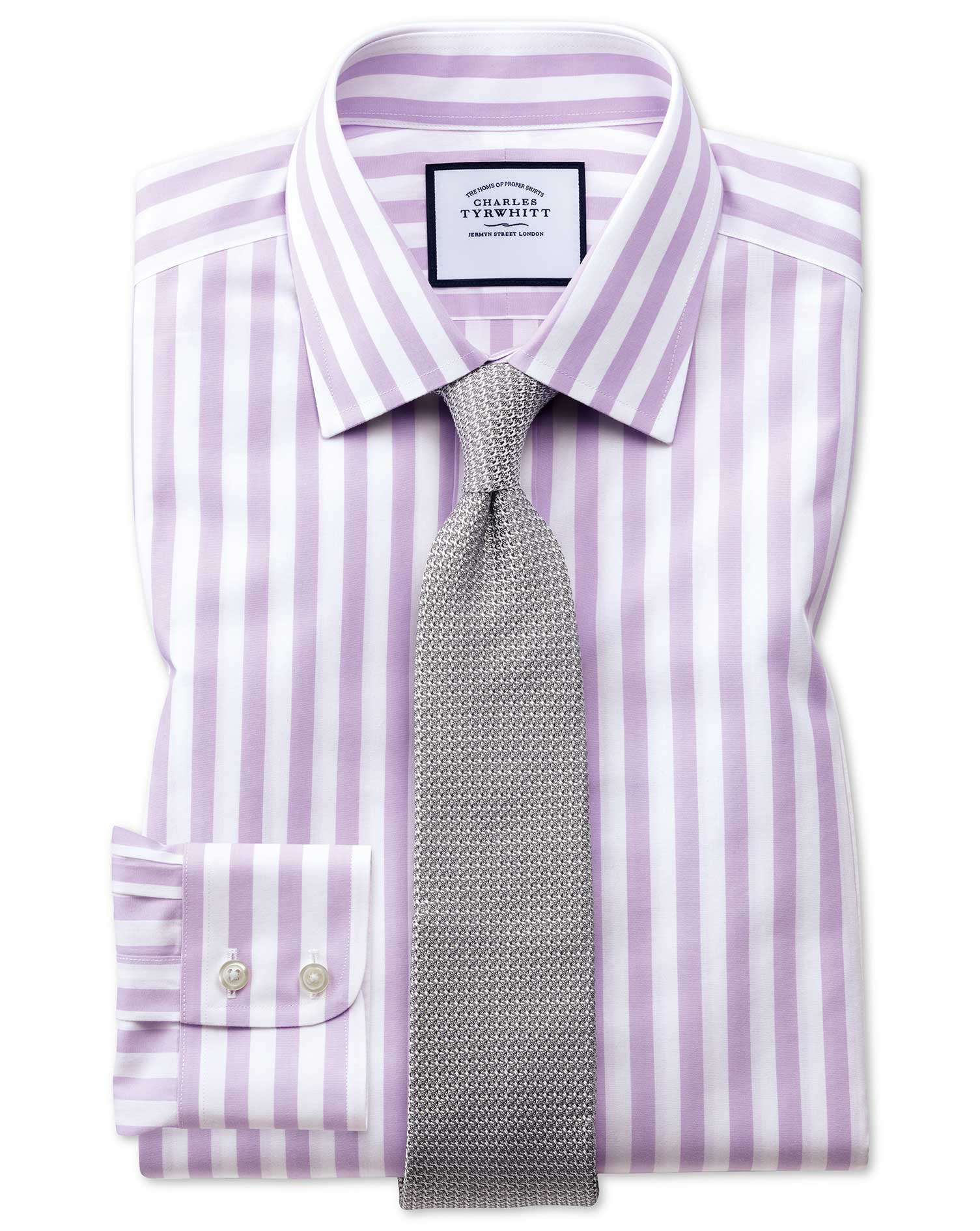 Slim Fit Non-Iron Jermyn Street Stripes Purple Cotton Formal Shirt Single Cuff Size 15.5/32 by Charl