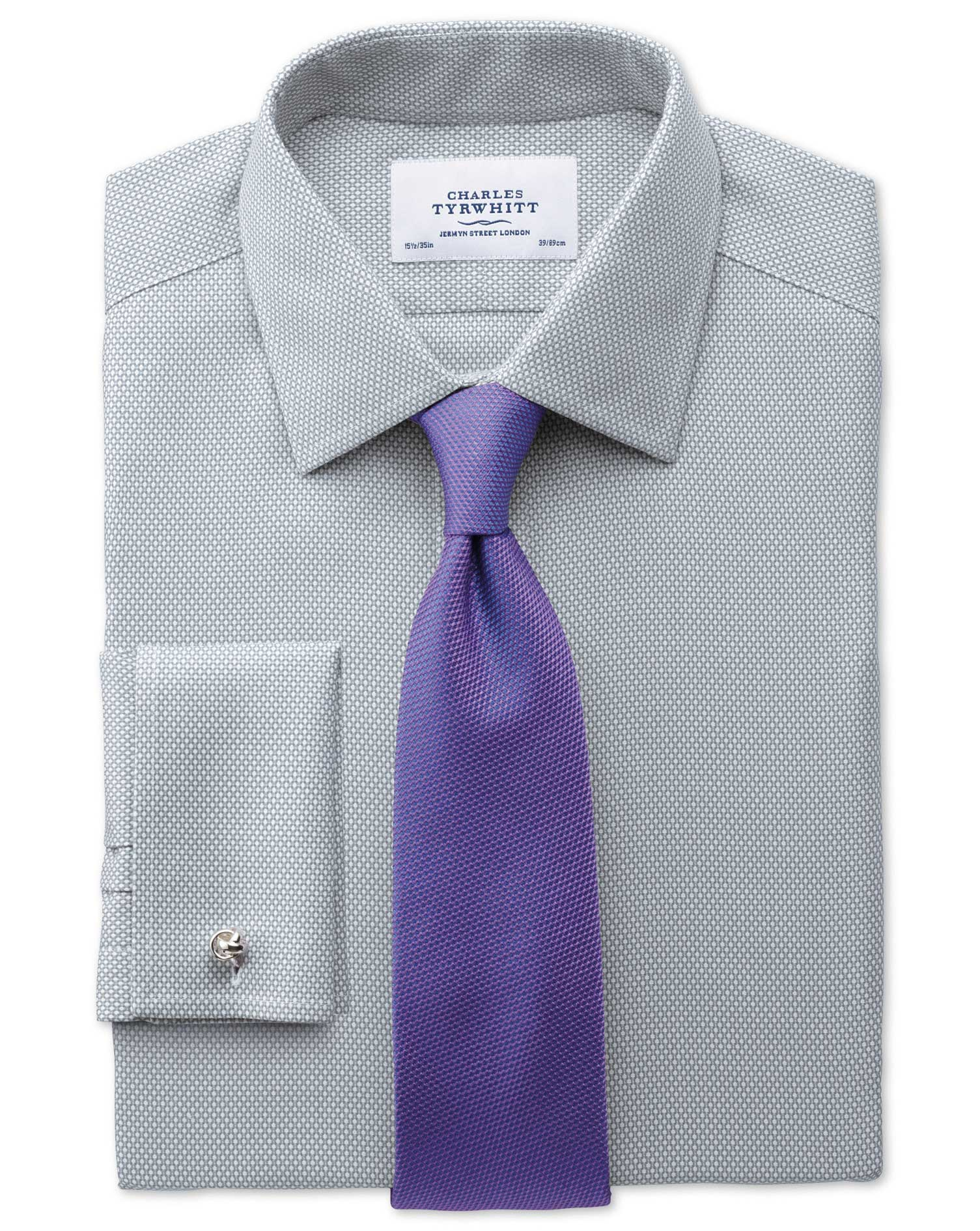 Extra Slim Fit Non Iron Honeycomb Grey Shirt Charles