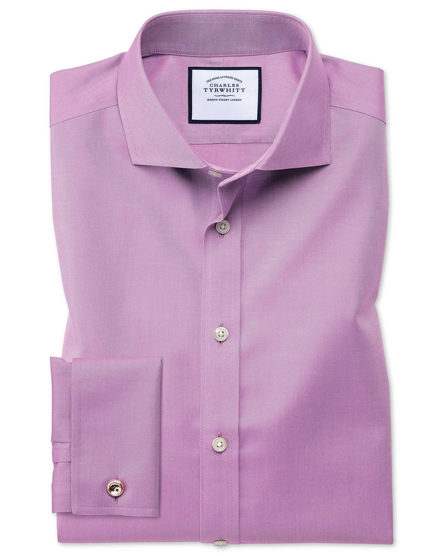 Slim Fit Cutaway Collar Non-Iron Twill Violet Cotton Formal Shirt Double Cuff Size 16/35 by Charles