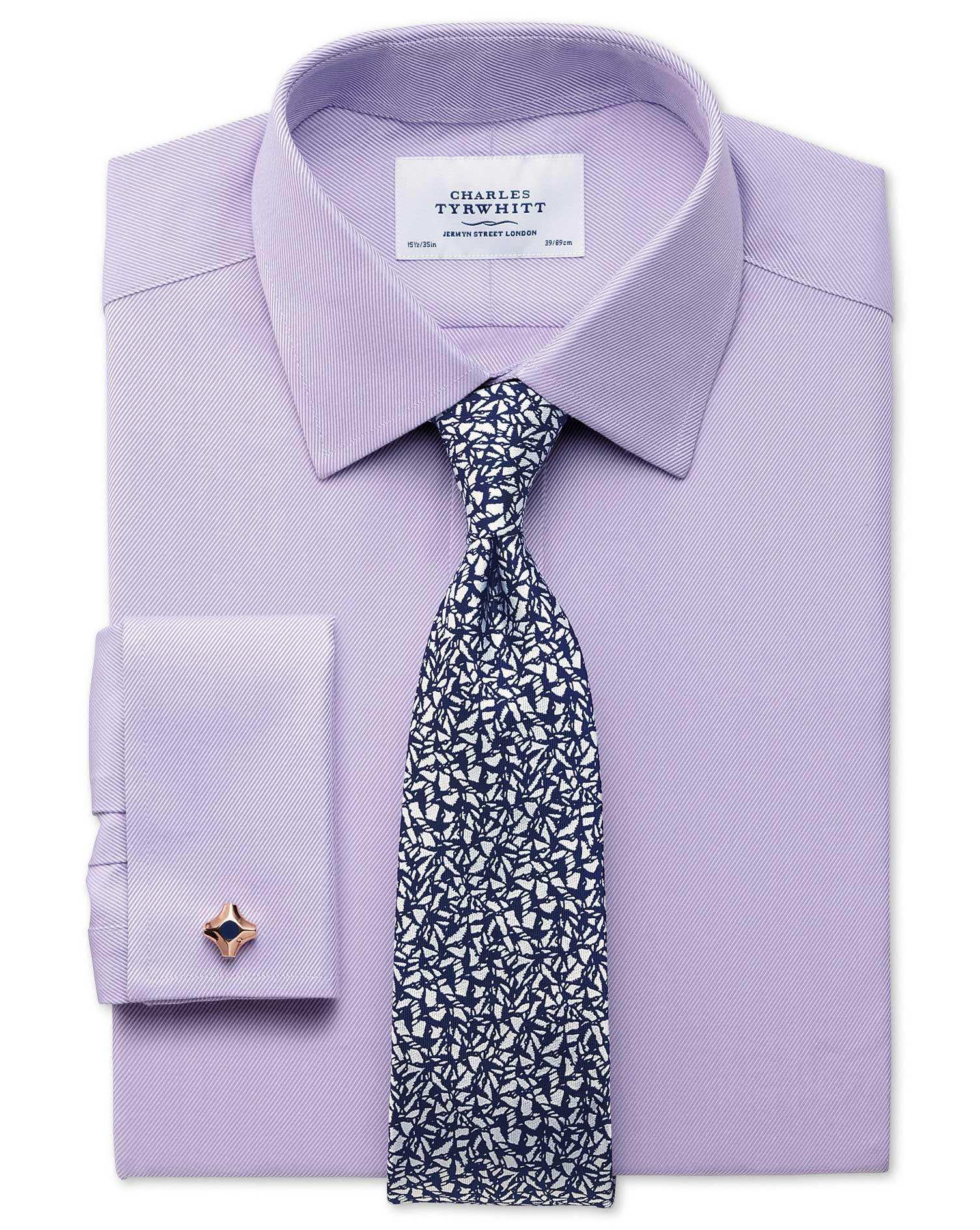 Extra slim fit egyptian cotton cavalry twill lilac shirt for Charles tyrwhitt shirts review