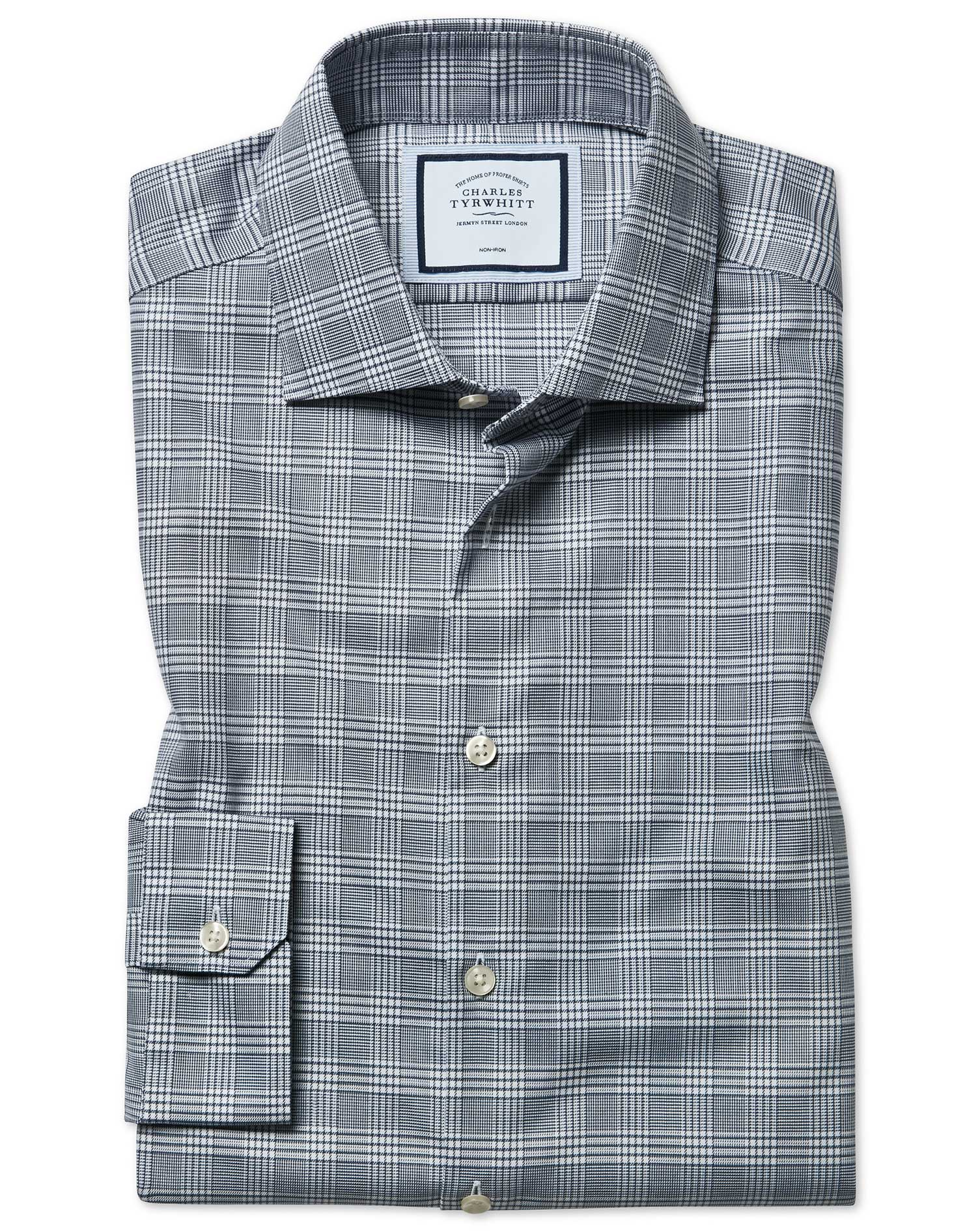 Super Slim Fit Non-Iron Natural Stretch Prince Of Wales Check Grey Cotton Formal Shirt Single Cuff S