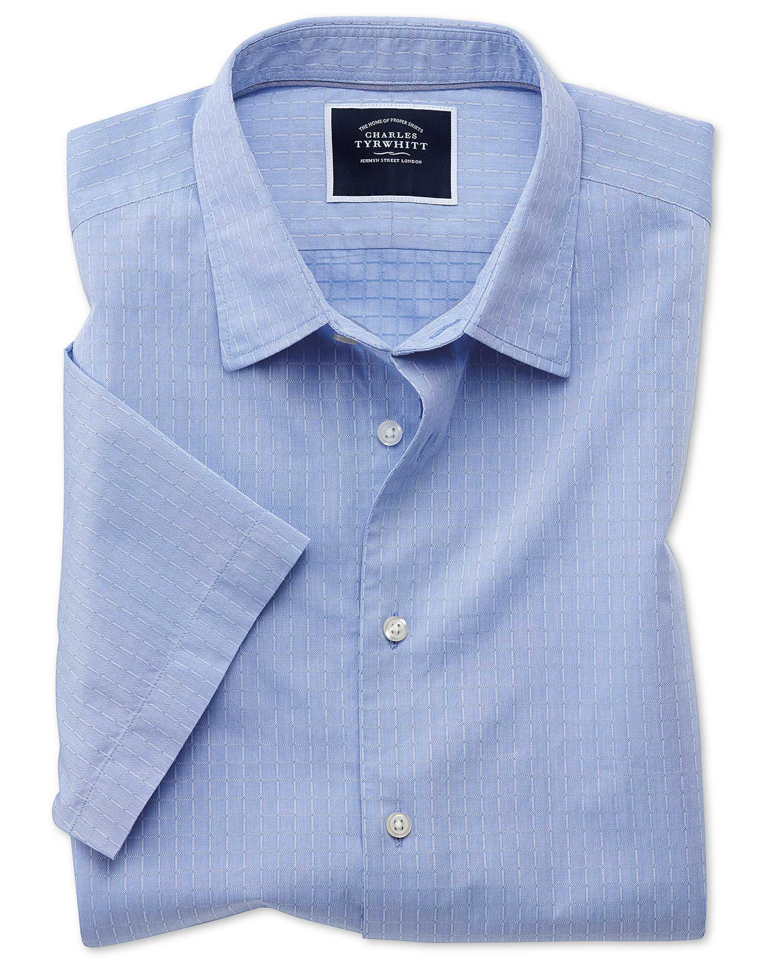 Slim Fit Blue Square Short Sleeve Soft Texture Cotton Shirt Single Cuff Size Small by Charles Tyrwhi