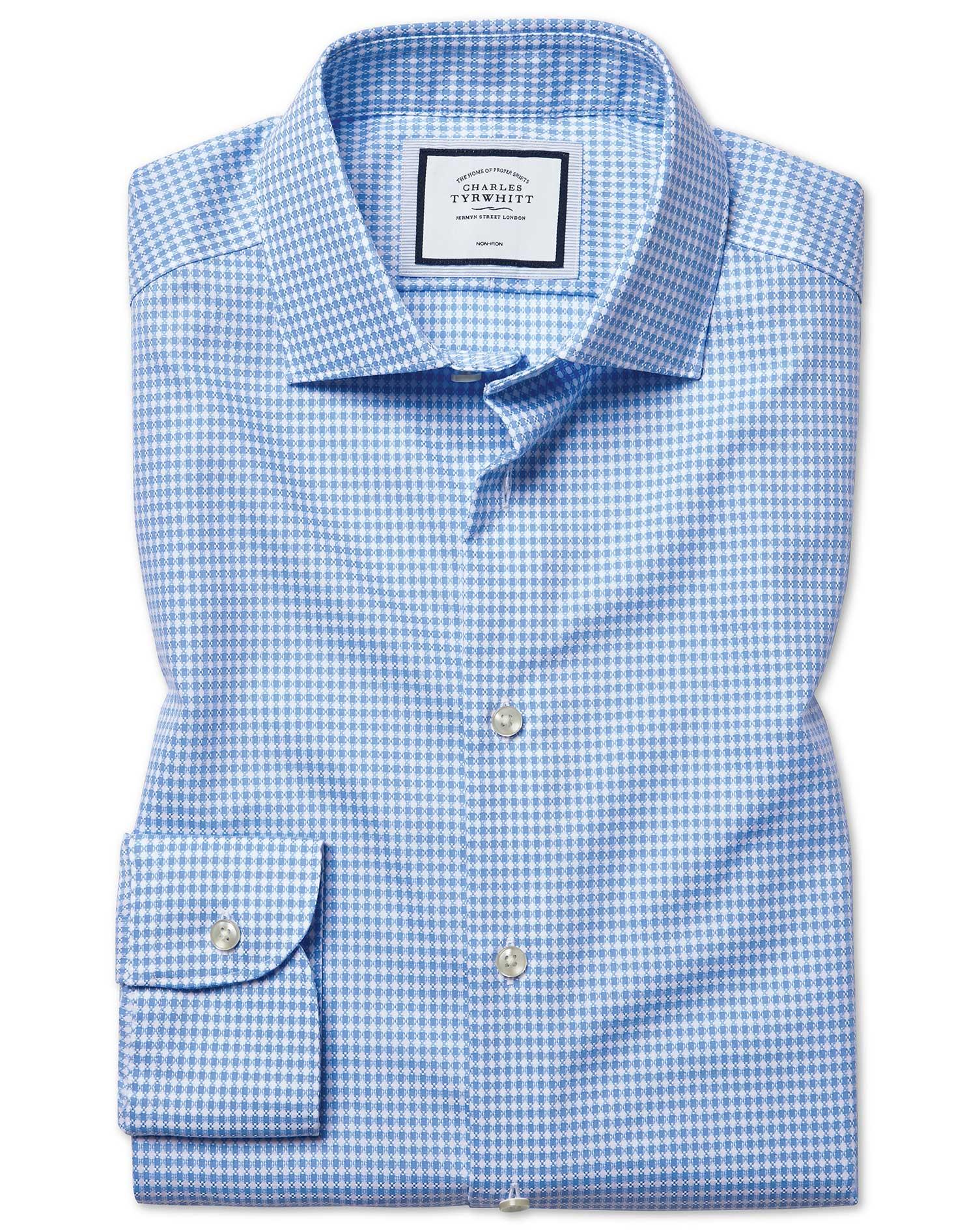 Cotton Extra Slim Fit Non-Iron Natural Stretch Sky Blue Shirt